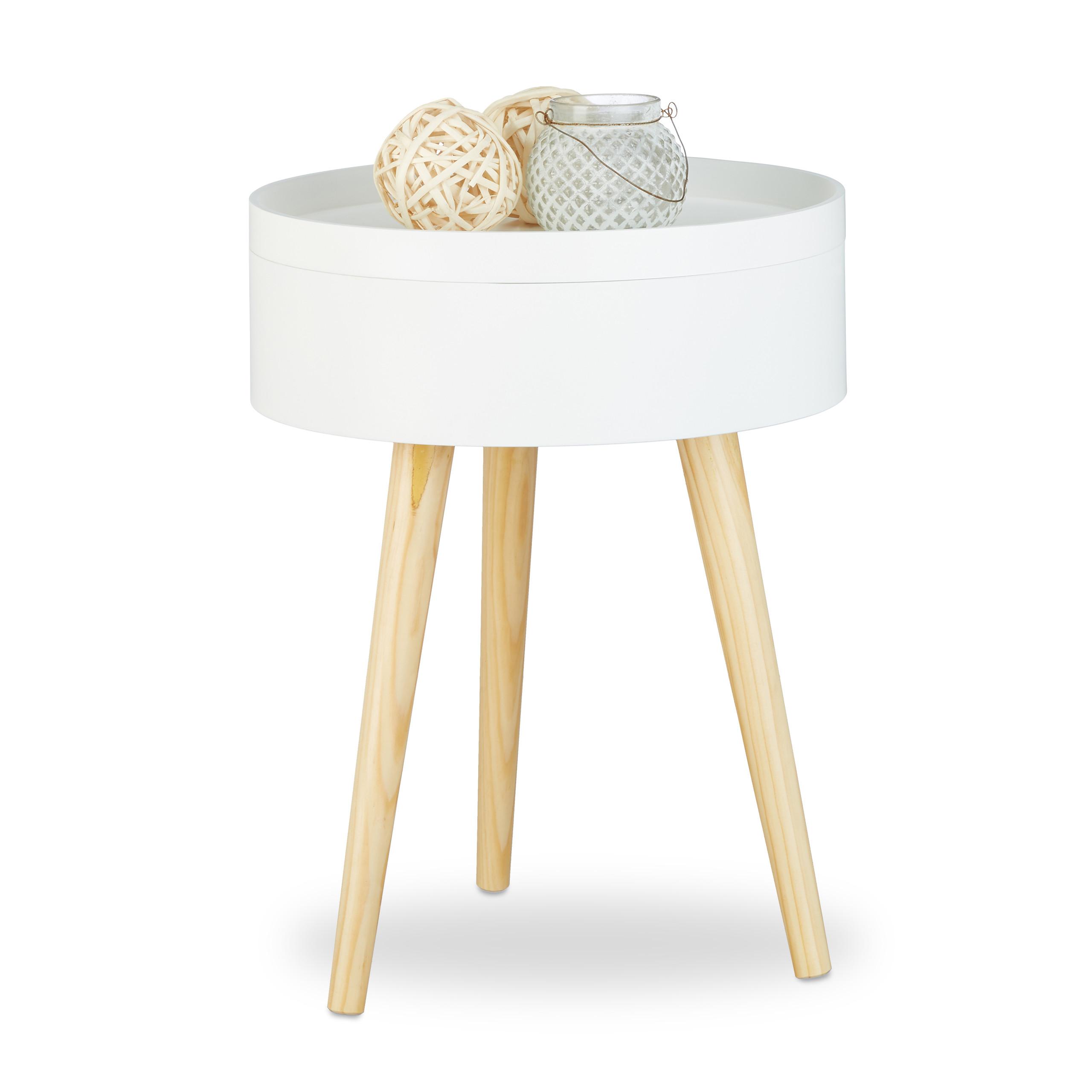 beistelltisch 38 cm rund skandinavisch nachttisch wei tablett wohnzimmertisch ebay. Black Bedroom Furniture Sets. Home Design Ideas