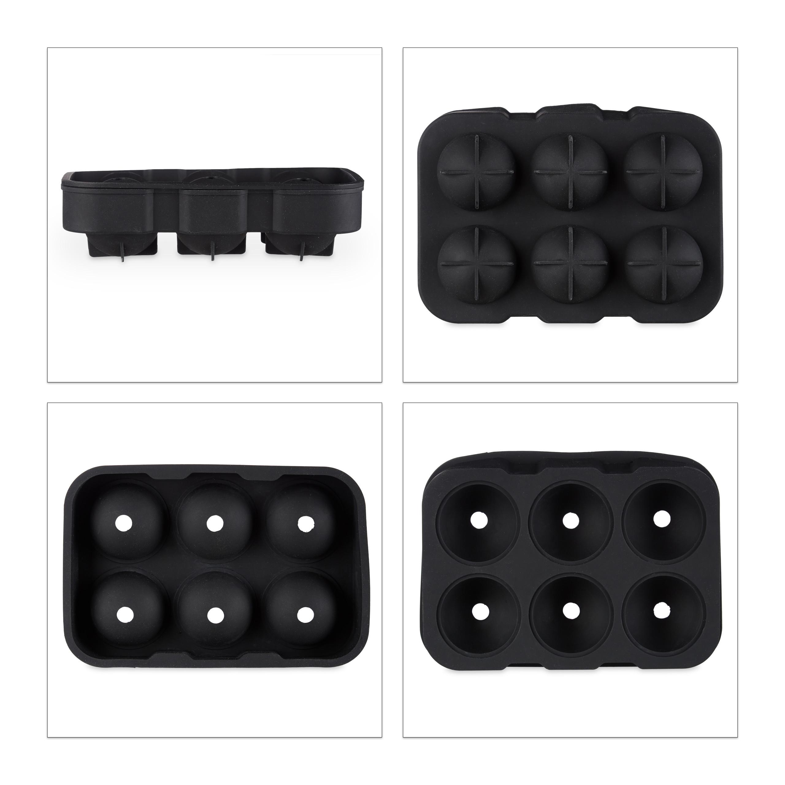 3x Eiskugelform Silikon 4,5cm Silikonform 2-teilig Eiskugel Portionierer schwarz