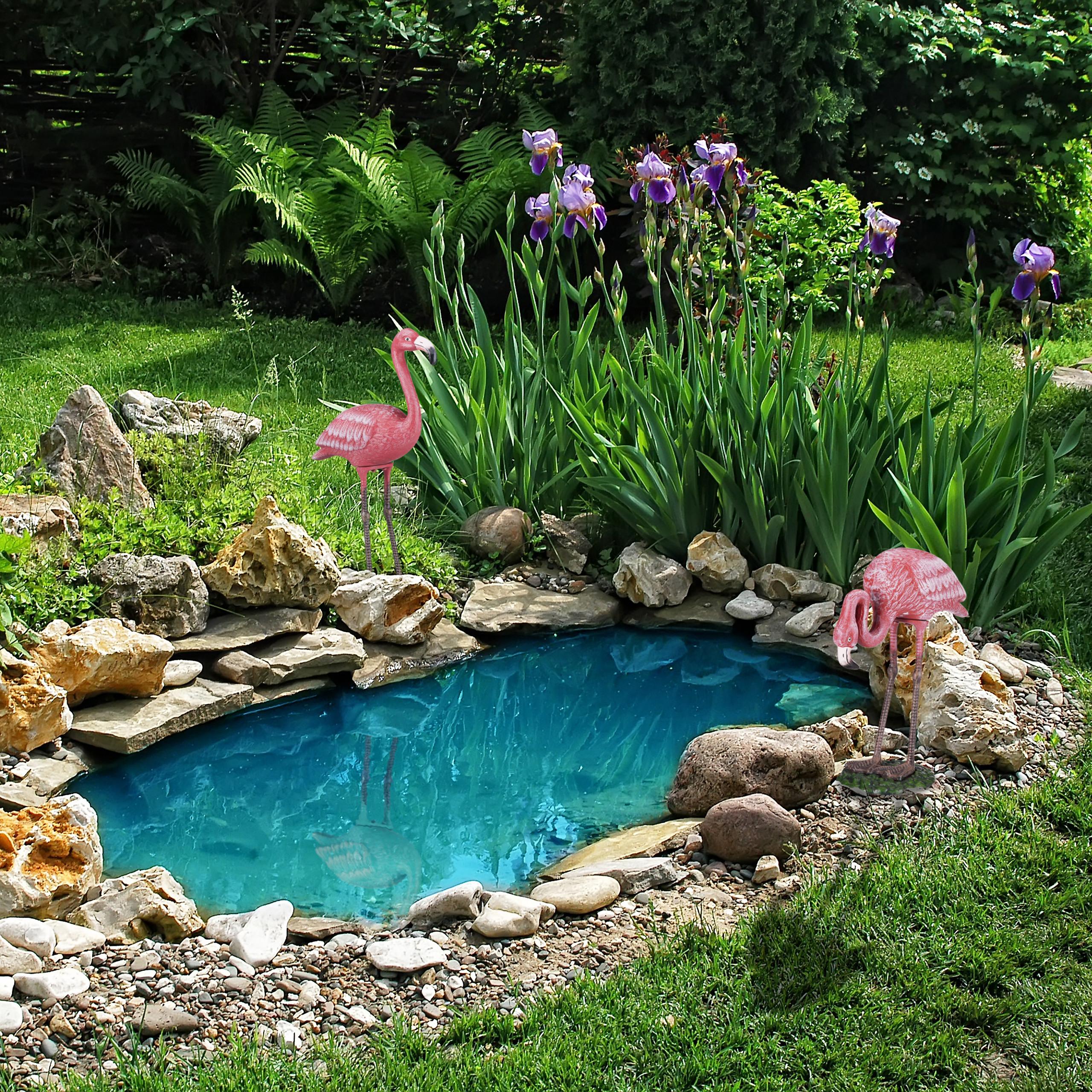 Dekofigur Flamingo Metallfigur Garten pink Gartendeko Metall Gartenfigur groß