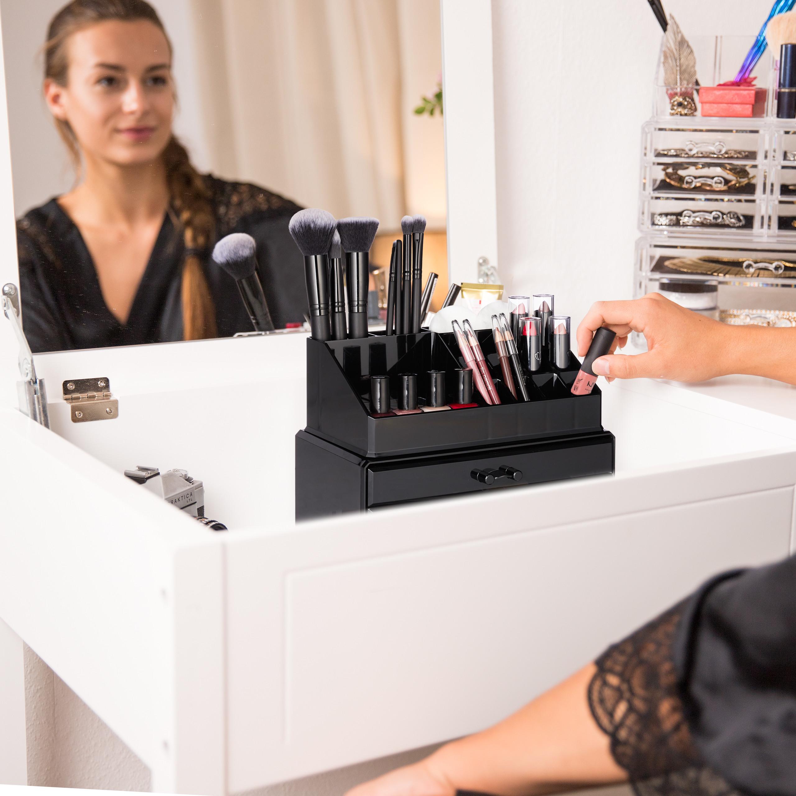 Make-Up-Organizer-klein-Kosmetikbox-stapelbar-Lippenstifthalter-Schmuckkasten miniatura 3