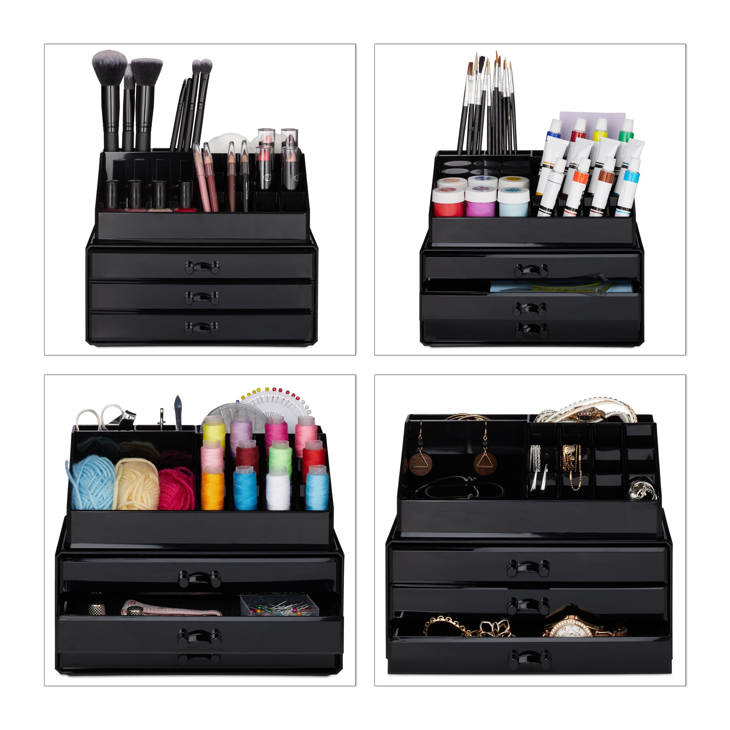 Make-Up-Organizer-klein-Kosmetikbox-stapelbar-Lippenstifthalter-Schmuckkasten miniatura 4