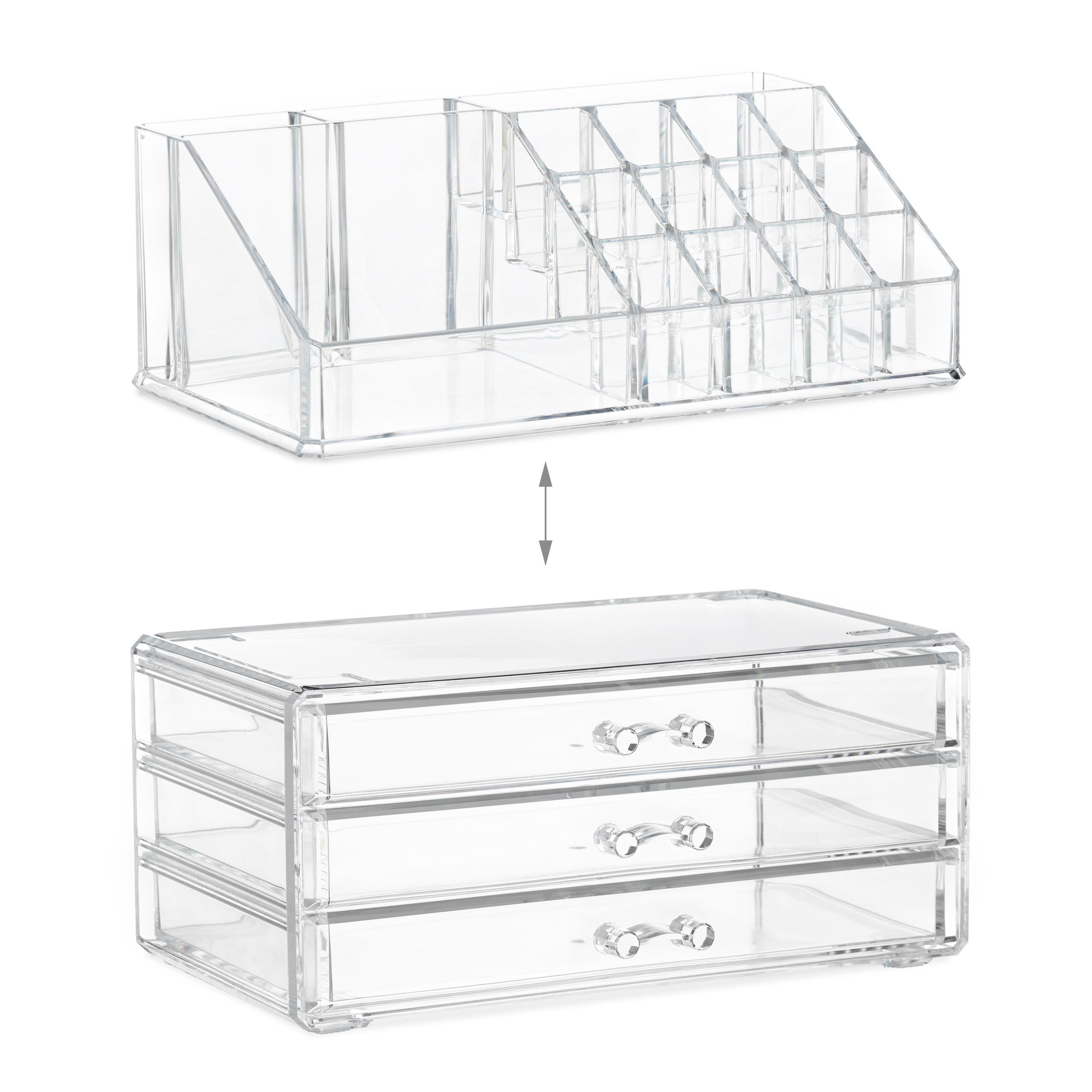 Make-Up-Organizer-klein-Kosmetikbox-stapelbar-Lippenstifthalter-Schmuckkasten miniatura 16
