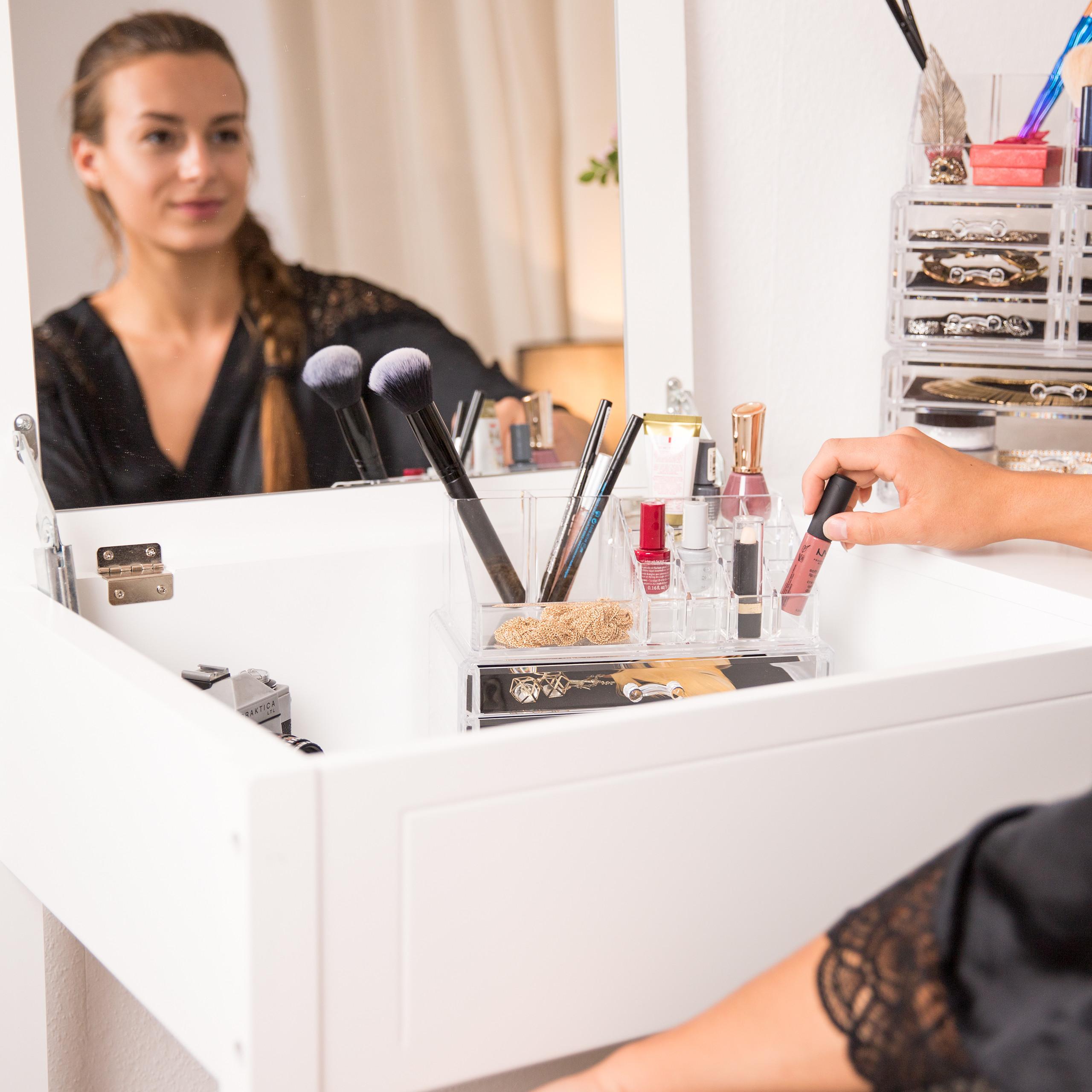 Make-Up-Organizer-klein-Kosmetikbox-stapelbar-Lippenstifthalter-Schmuckkasten miniatura 13