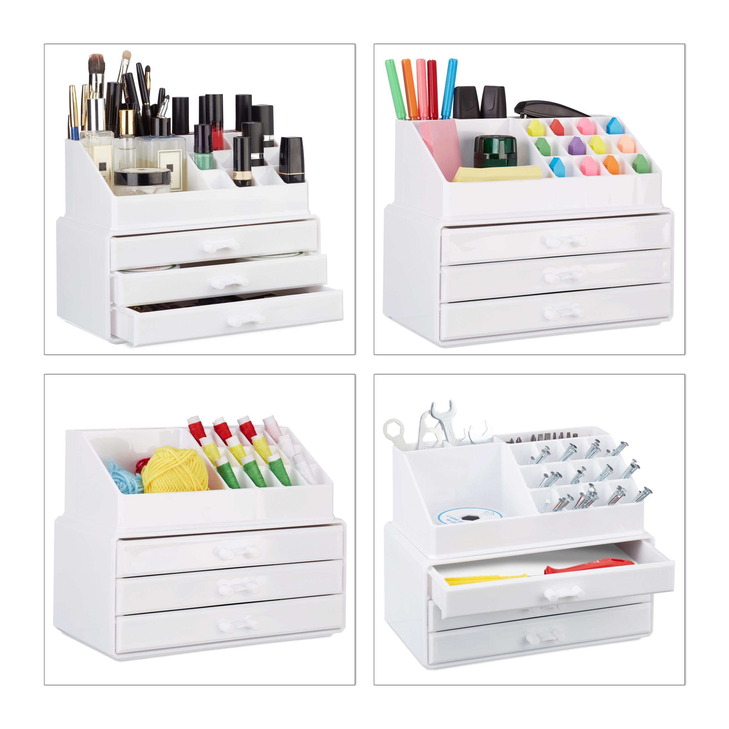 Make-Up-Organizer-klein-Kosmetikbox-stapelbar-Lippenstifthalter-Schmuckkasten miniatura 14