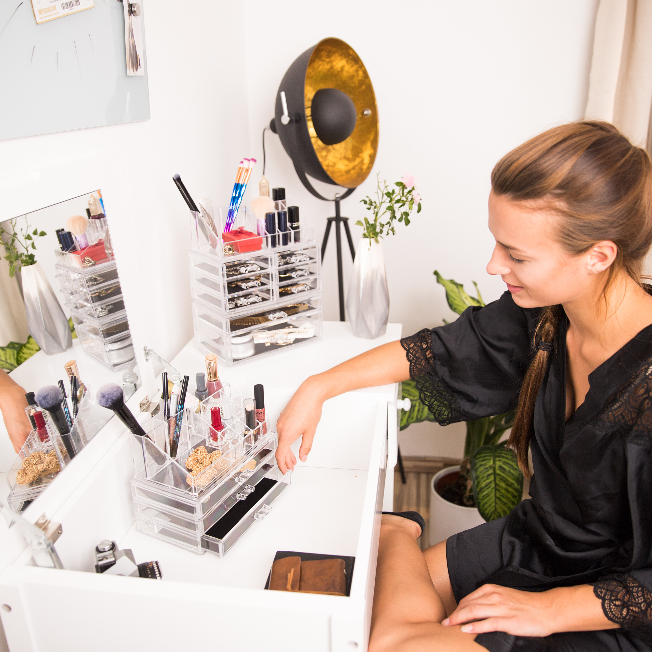 Make-Up-Organizer-klein-Kosmetikbox-stapelbar-Lippenstifthalter-Schmuckkasten miniatura 18