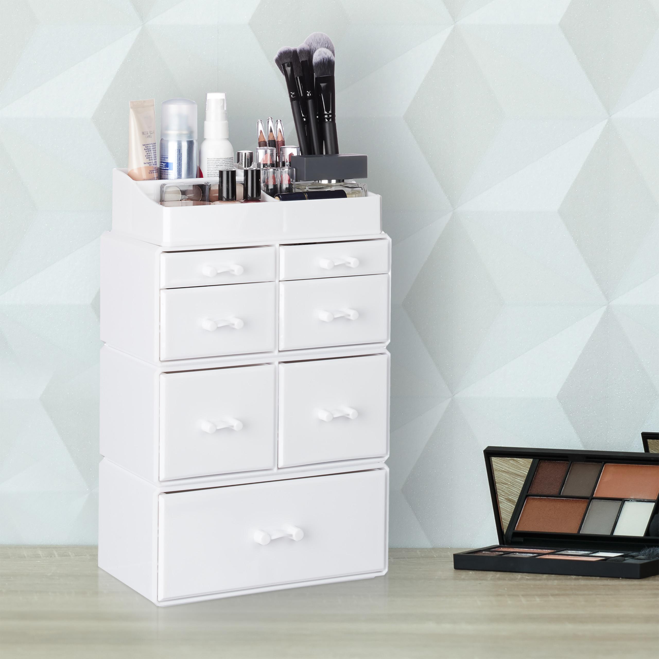 Make-Up-Organizer-hoch-Kosmetik-Tower-mit-Schubladen-Make-Up-Stander-stapelbar miniatura 12