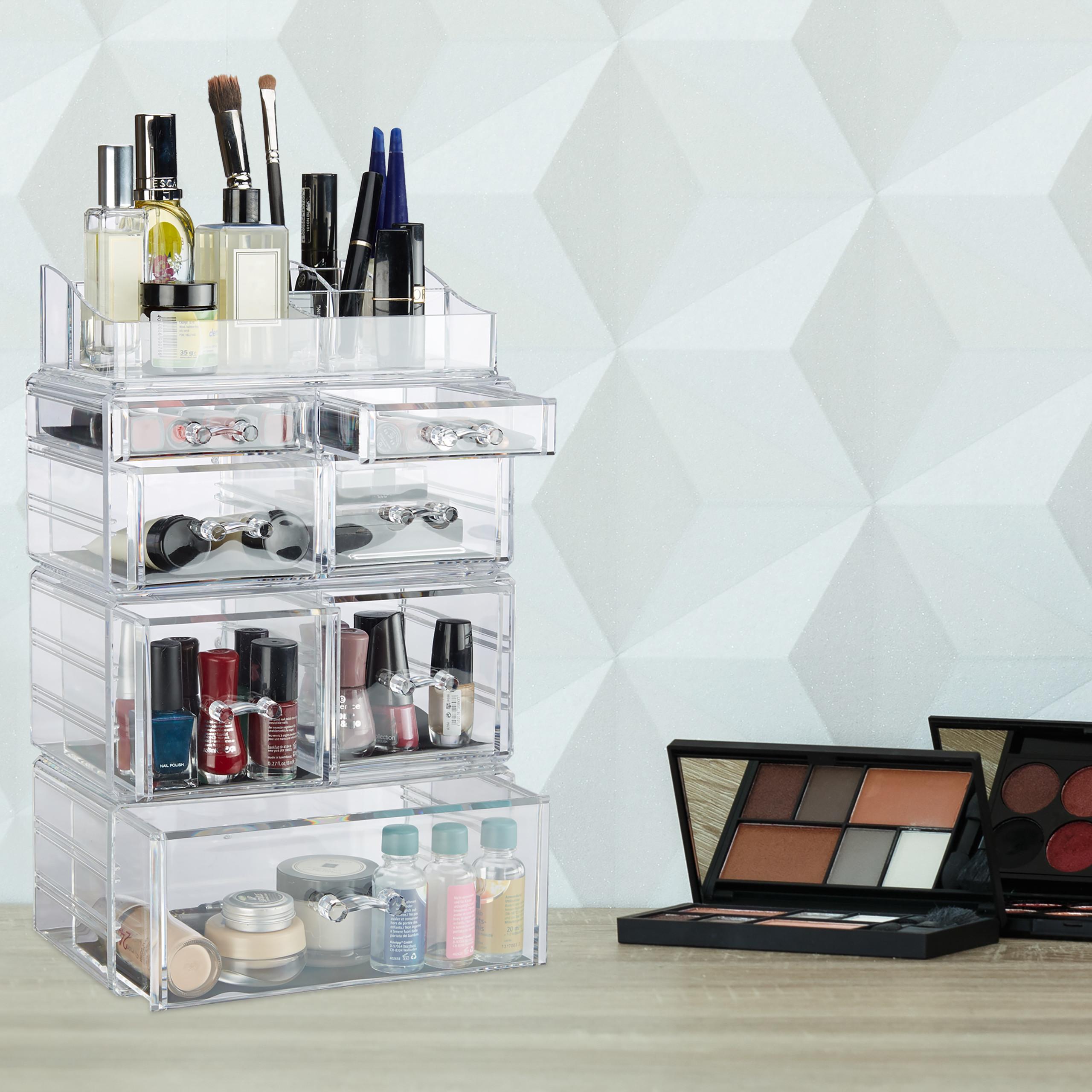 Make-Up-Organizer-hoch-Kosmetik-Tower-mit-Schubladen-Make-Up-Stander-stapelbar miniatura 3