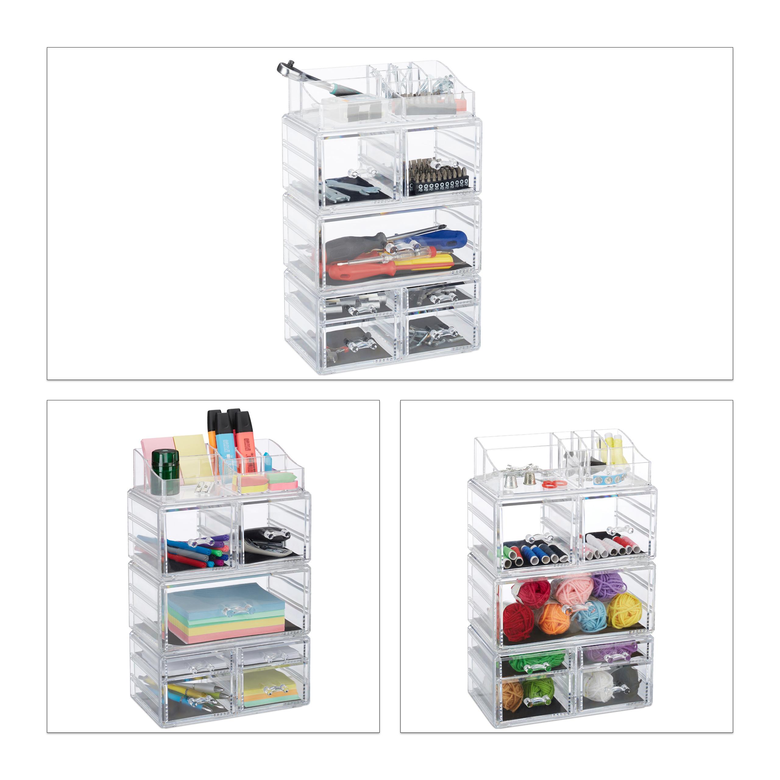 Make-Up-Organizer-hoch-Kosmetik-Tower-mit-Schubladen-Make-Up-Stander-stapelbar miniatura 4