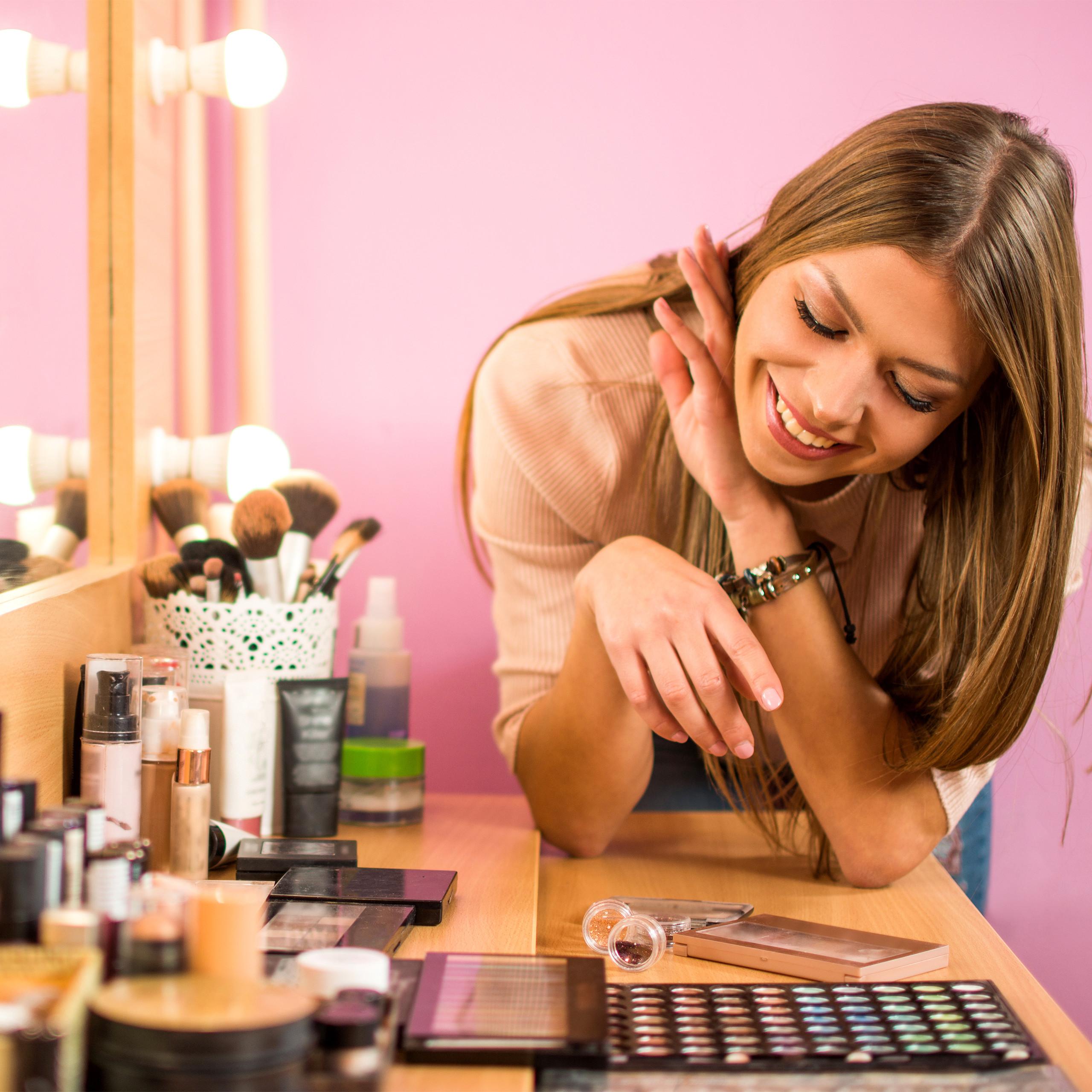 Make-Up-Organizer-hoch-Kosmetik-Tower-mit-Schubladen-Make-Up-Stander-stapelbar miniatura 9