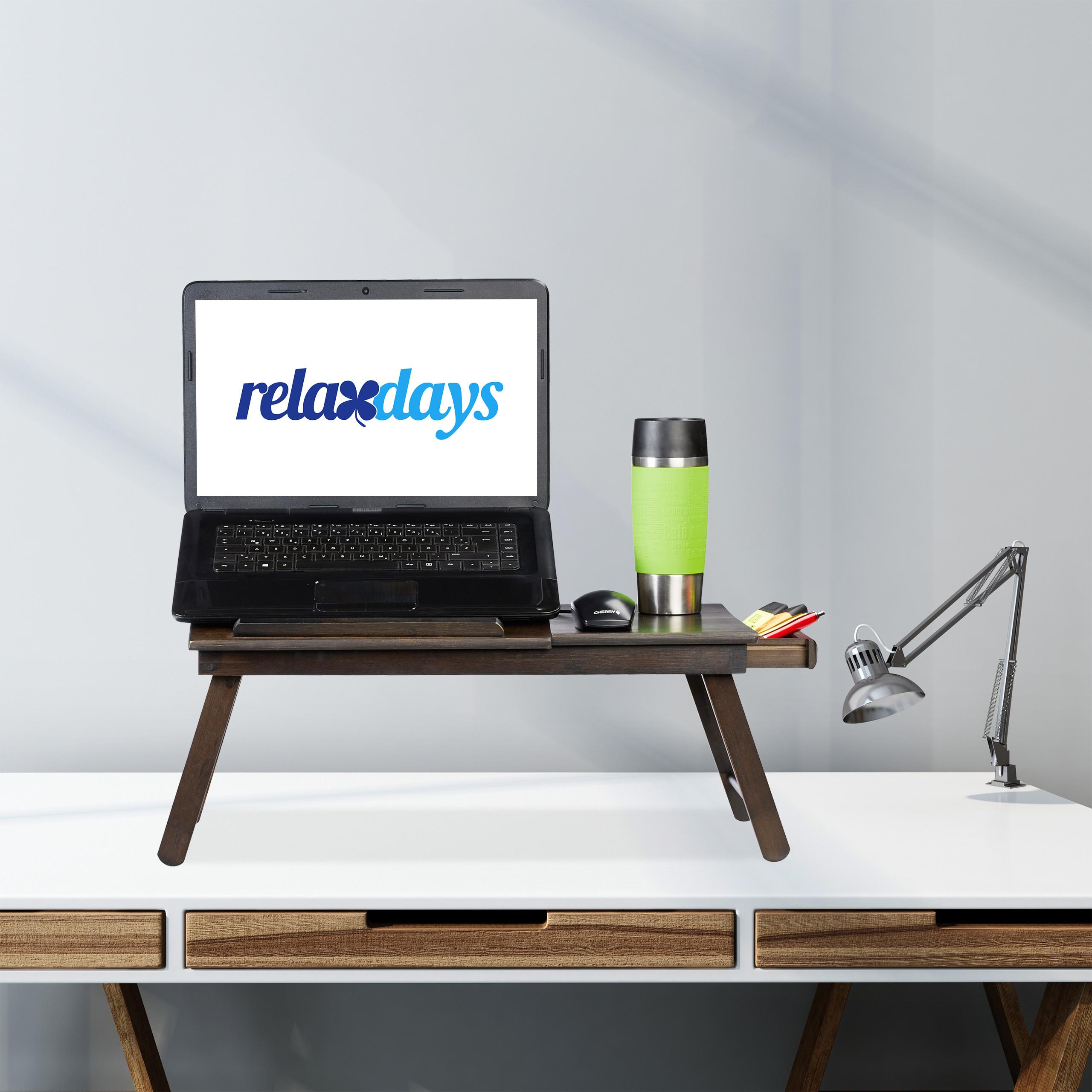 Laptoptisch Bambus Knietisch Notebooktisch Bett Laptophalter Betttisch braun