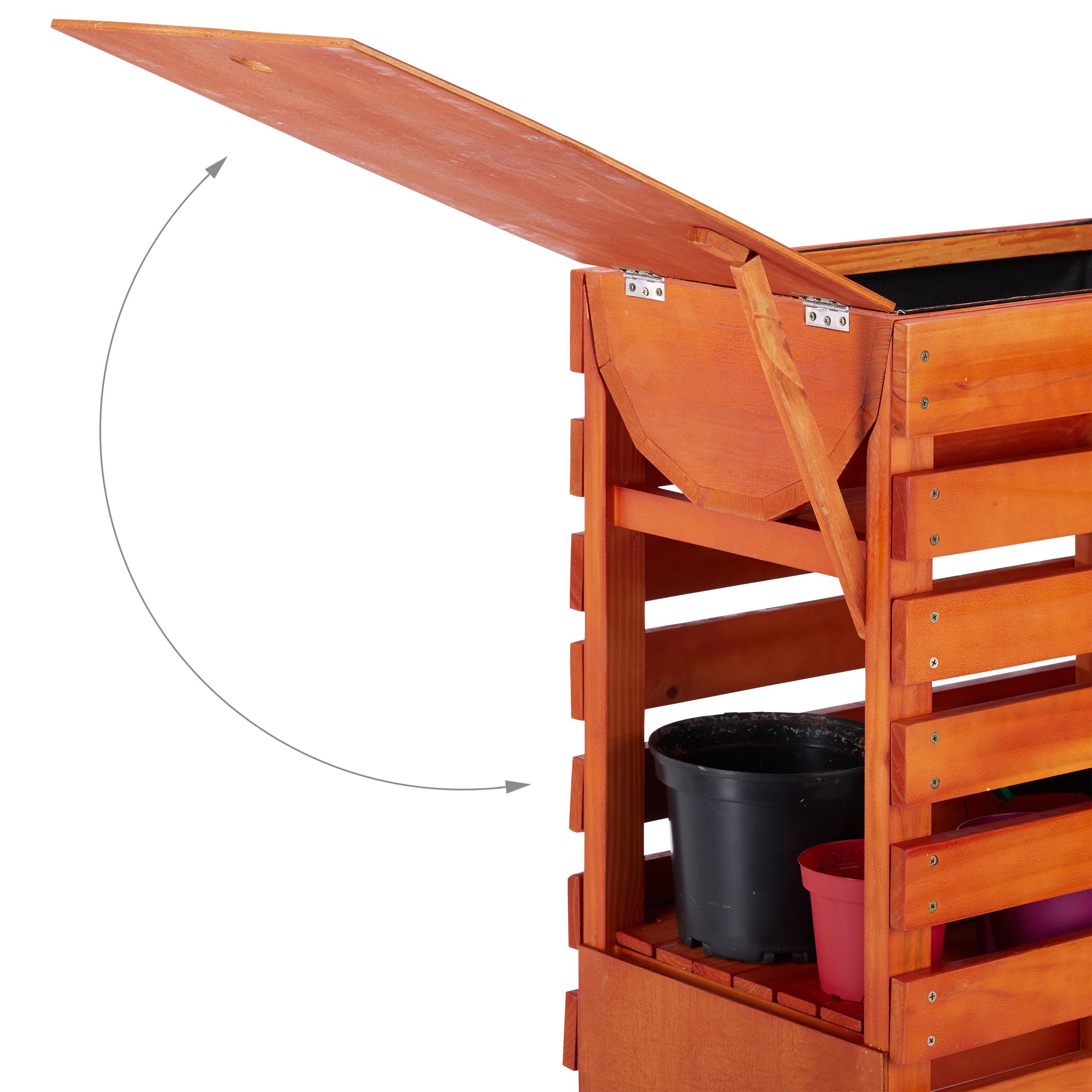Hochbeet-Holz-Trog-Blumenkasten-Pflanzkasten-Fruehbeet-auf-Rollen-Kraeuterbeet Indexbild 17
