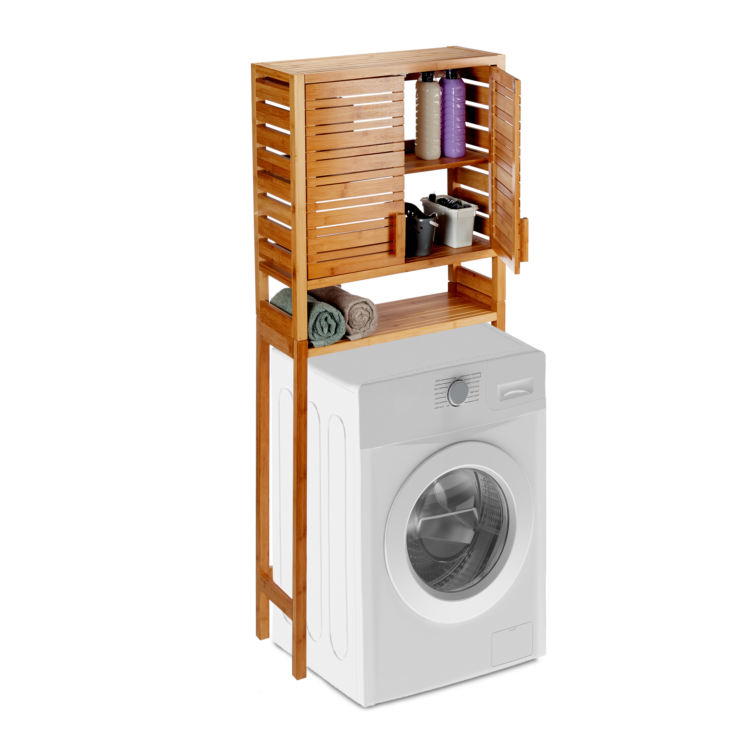 Washing Machine Cabinet Bamboo High Cabinet Natural Toilet On
