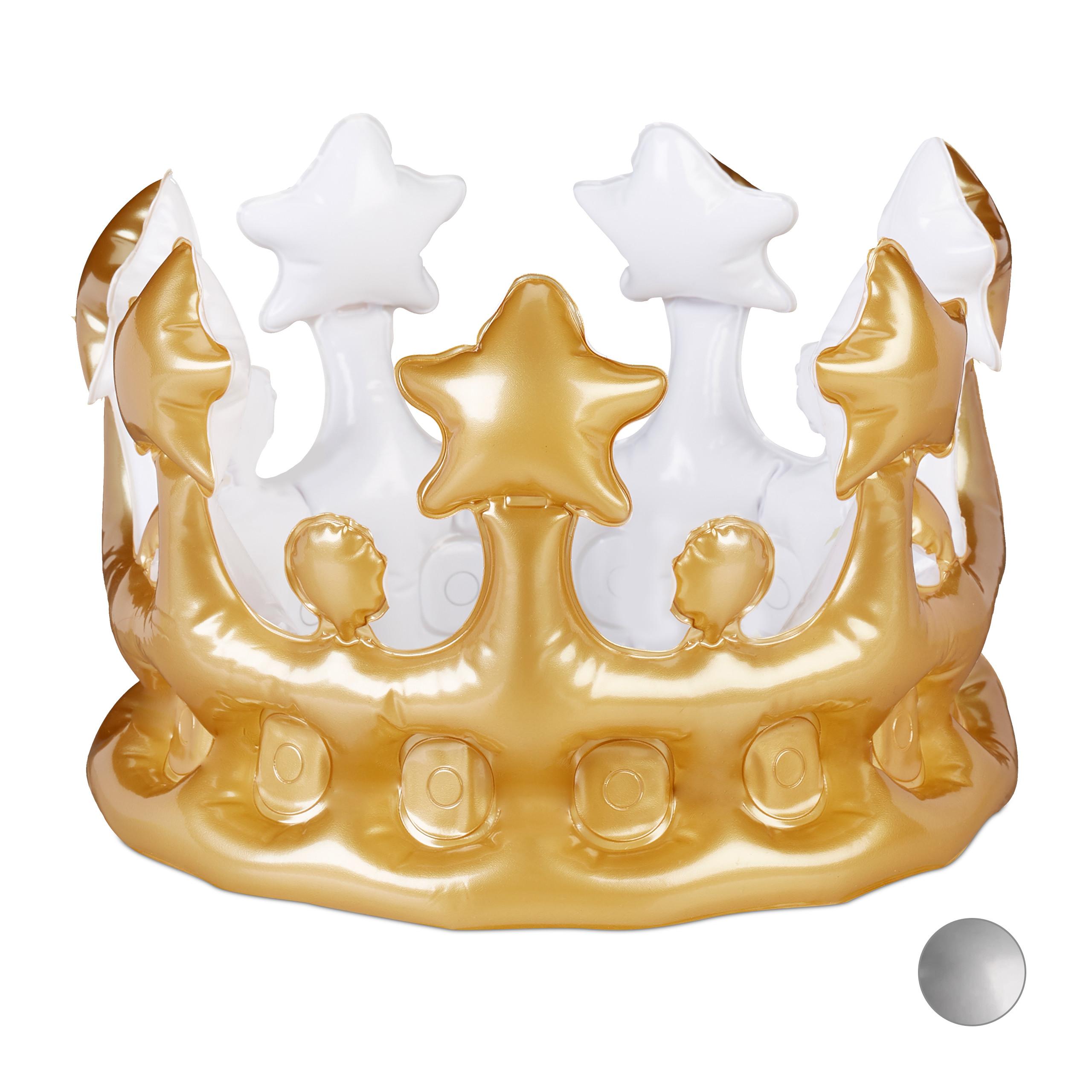 1 Stück Aufblasbare Krone Königskrone Kronen Kaiserkrone Fasching Karneval gold