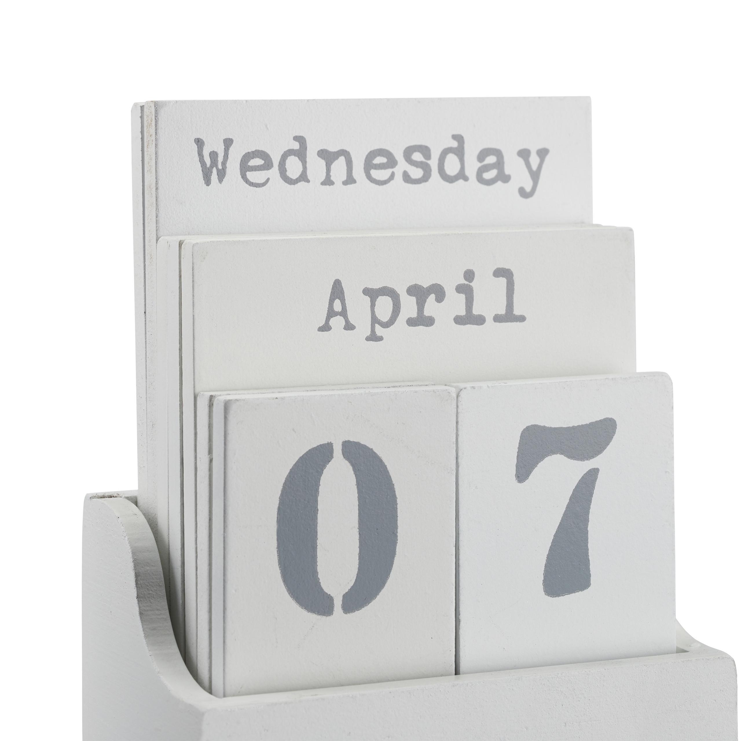 A6 dekorativ f/ür Tisch grau Holzkalender mit Wochentag Ewiger Kalender Monat /& Datum Relaxdays Dauerkalender Holz