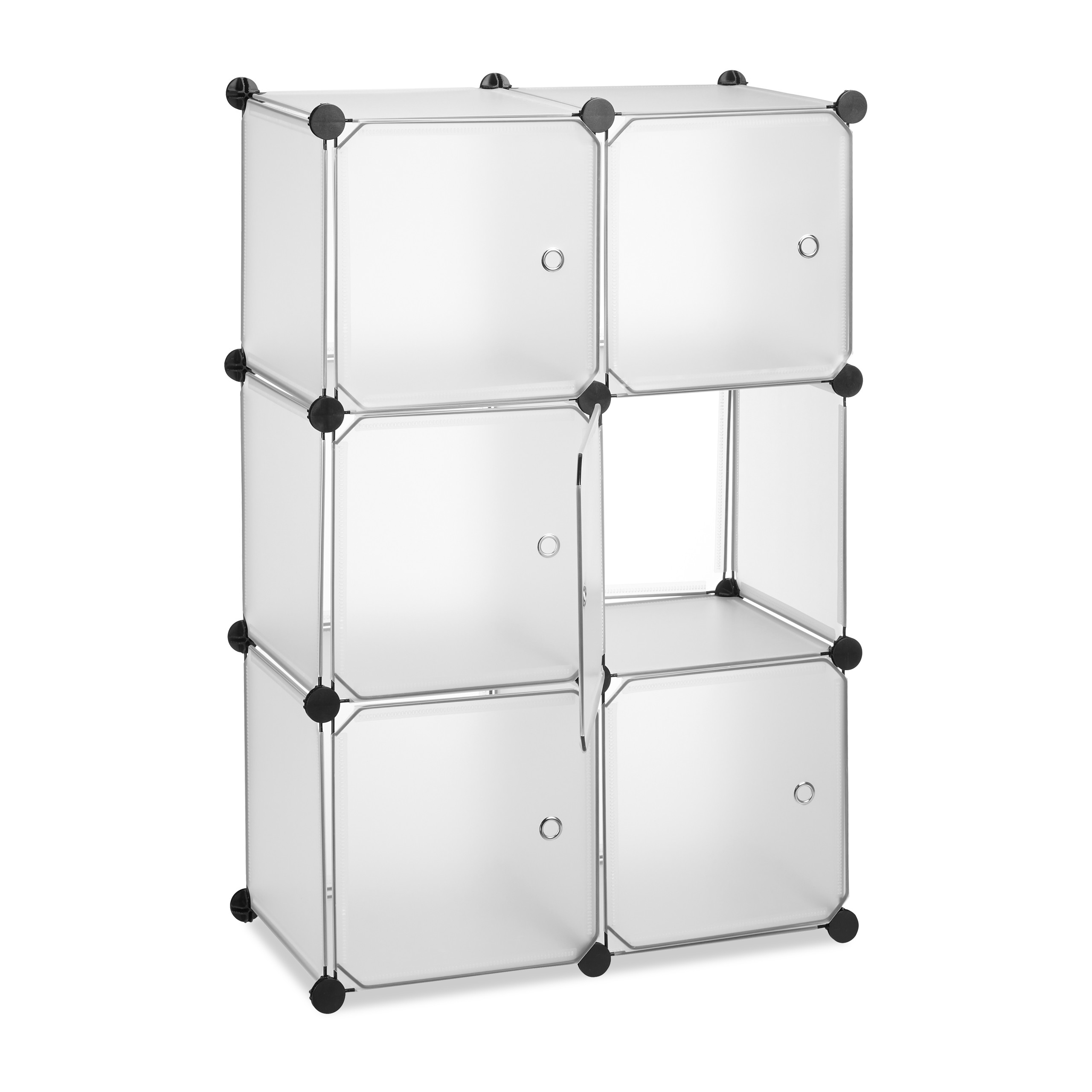Regalsystem mit 6 Türen Kunststoff Steckregal Badregal Stufenregal Raumteiler