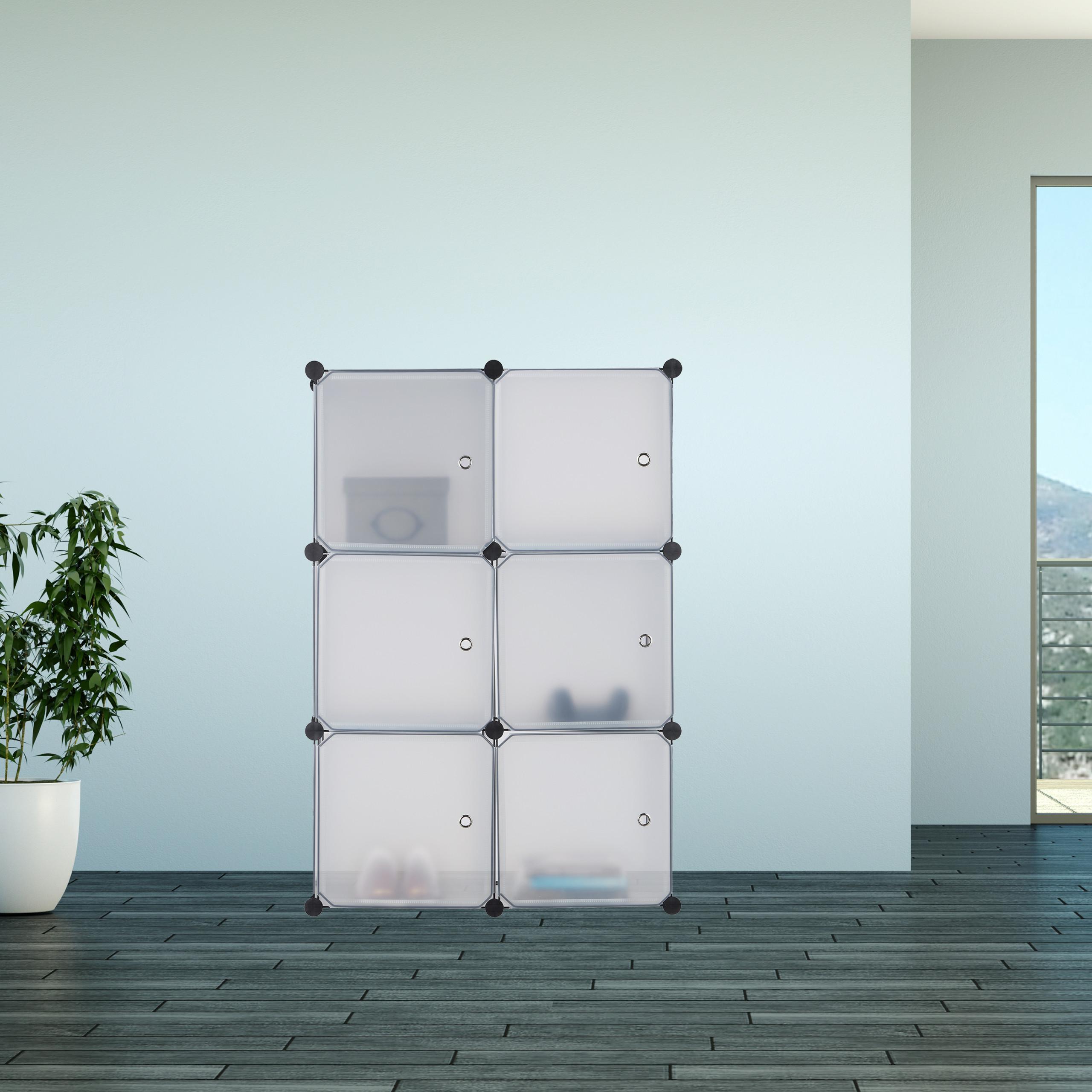 regalsystem mit 6 t ren badregal raumteiler steckregal stufenregal kunststoff ebay. Black Bedroom Furniture Sets. Home Design Ideas