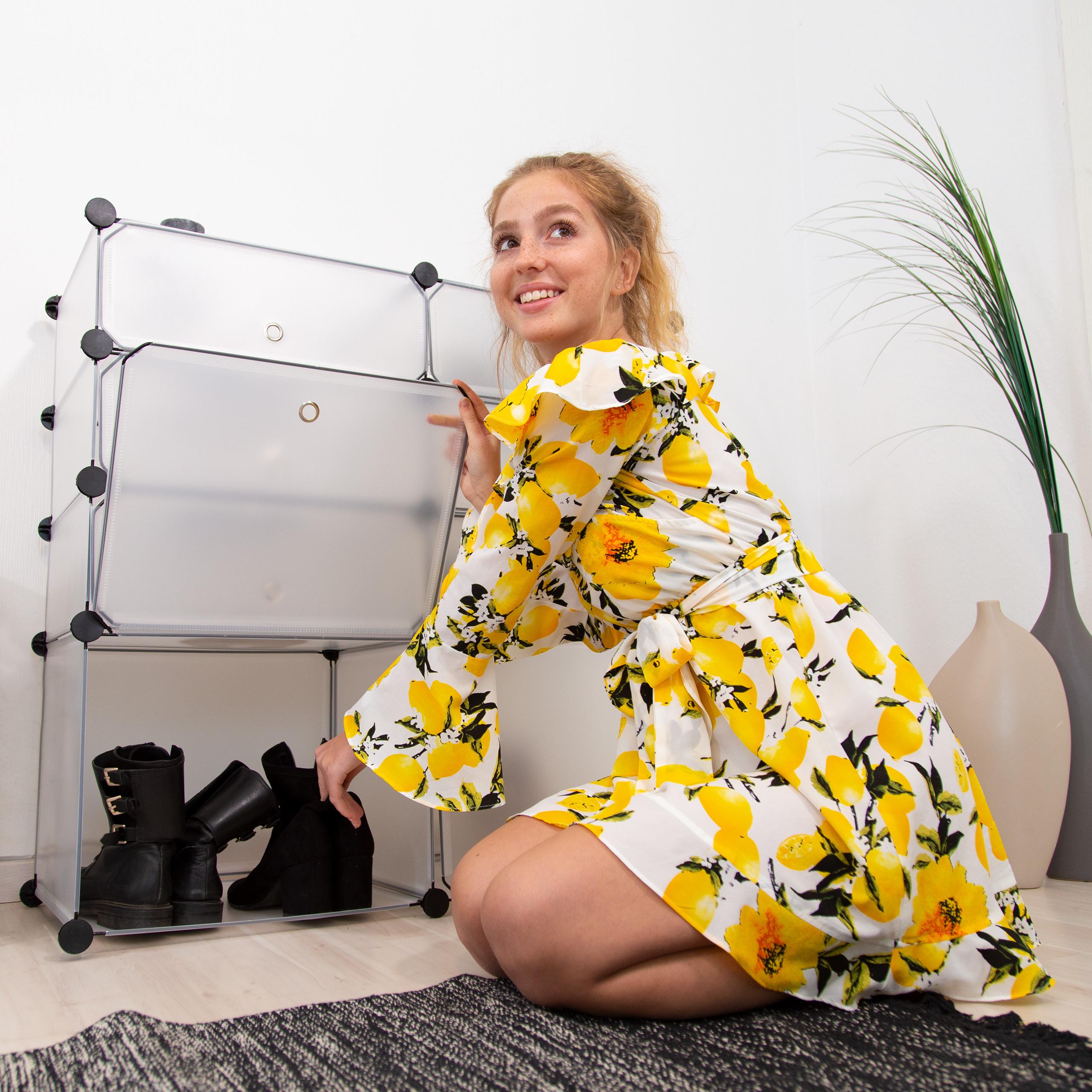 schuhregal kunststoff 8 f cher schuhschrank steckregal mit. Black Bedroom Furniture Sets. Home Design Ideas