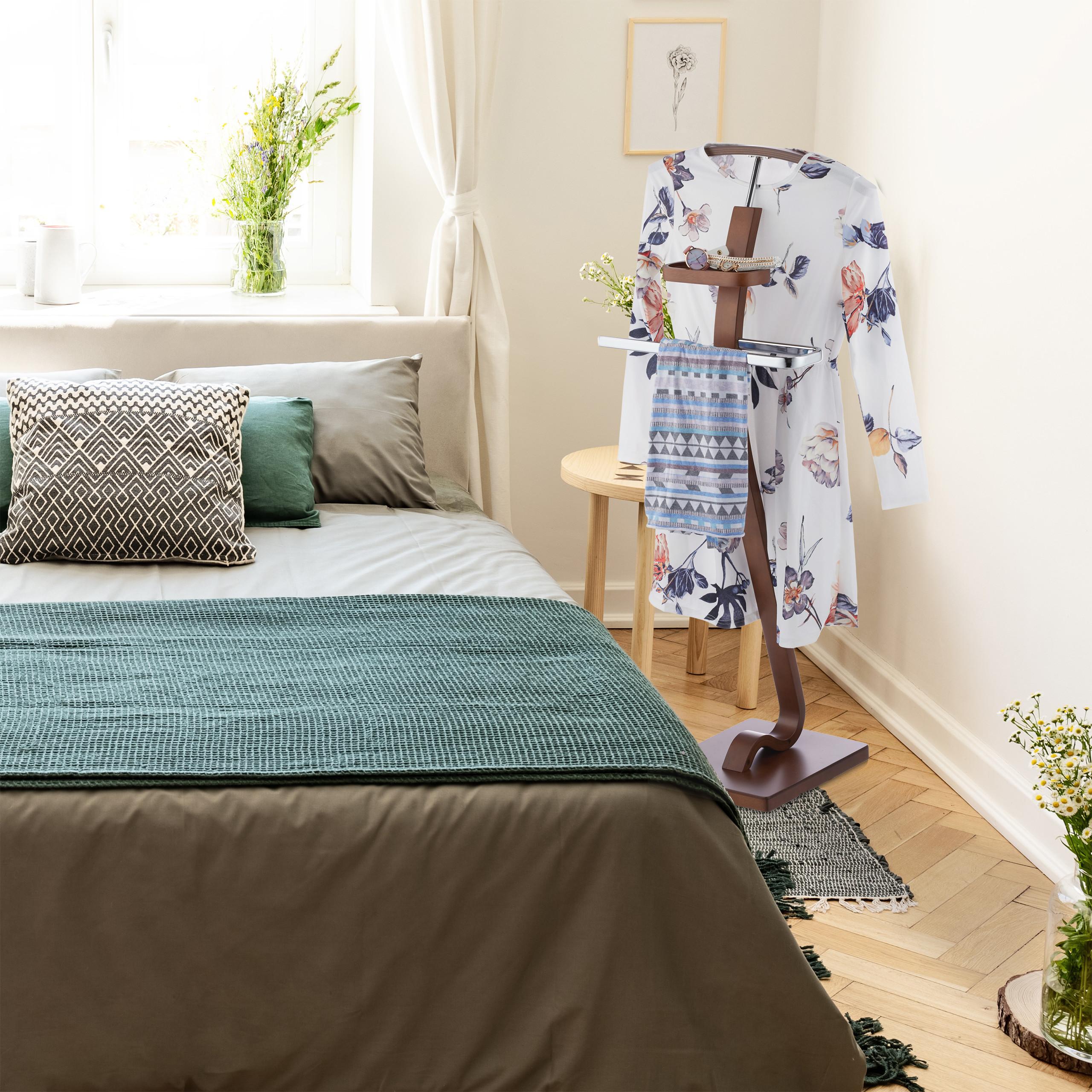 herrendiener wallnussoptik kleiderbutler stummer diener holz metall damendiener ebay. Black Bedroom Furniture Sets. Home Design Ideas