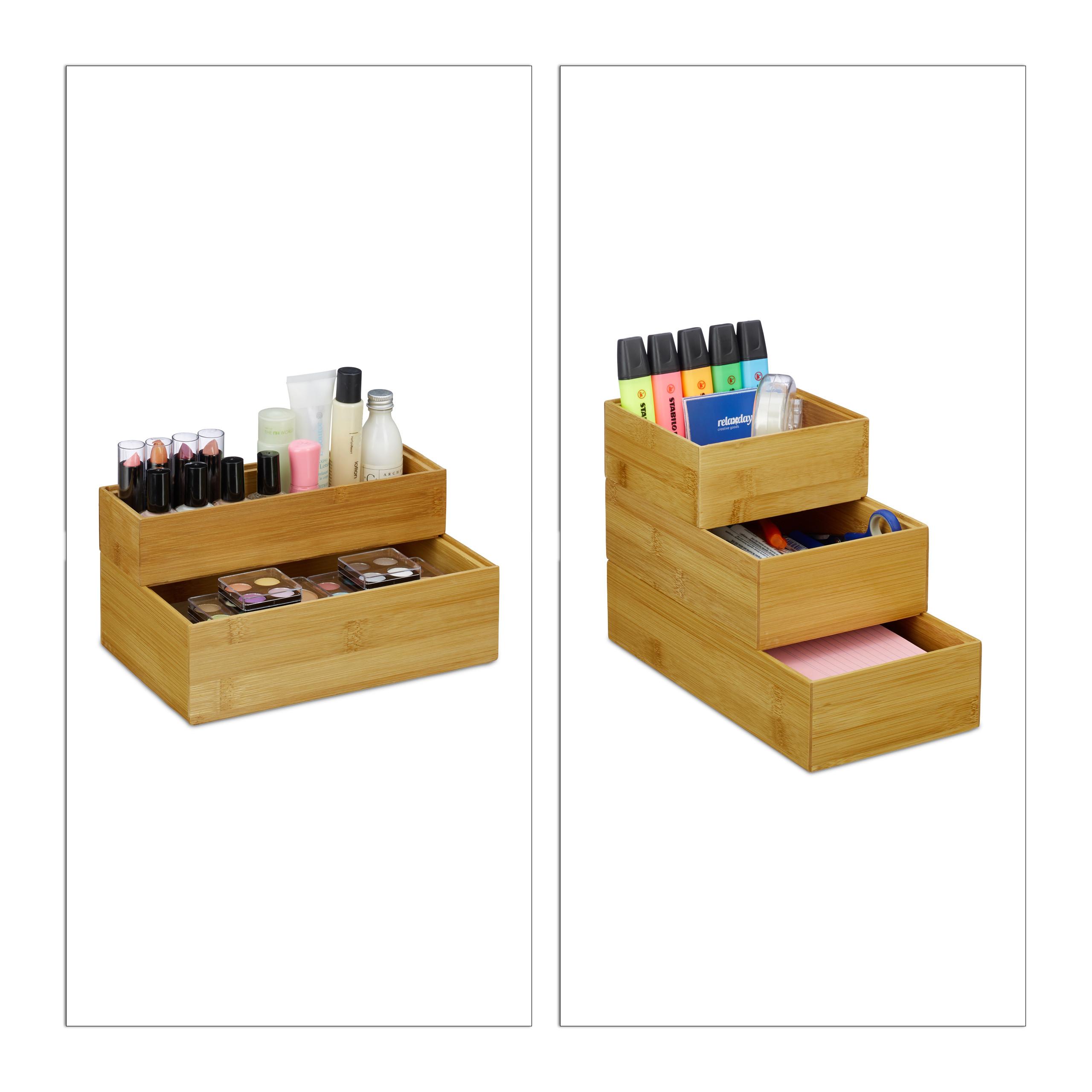 Détails sur Ordnungsbox Bambou Lot Boîte nature Boîte De Rangement  Empilable Bambou Boîte Bain- afficher le titre d\'origine