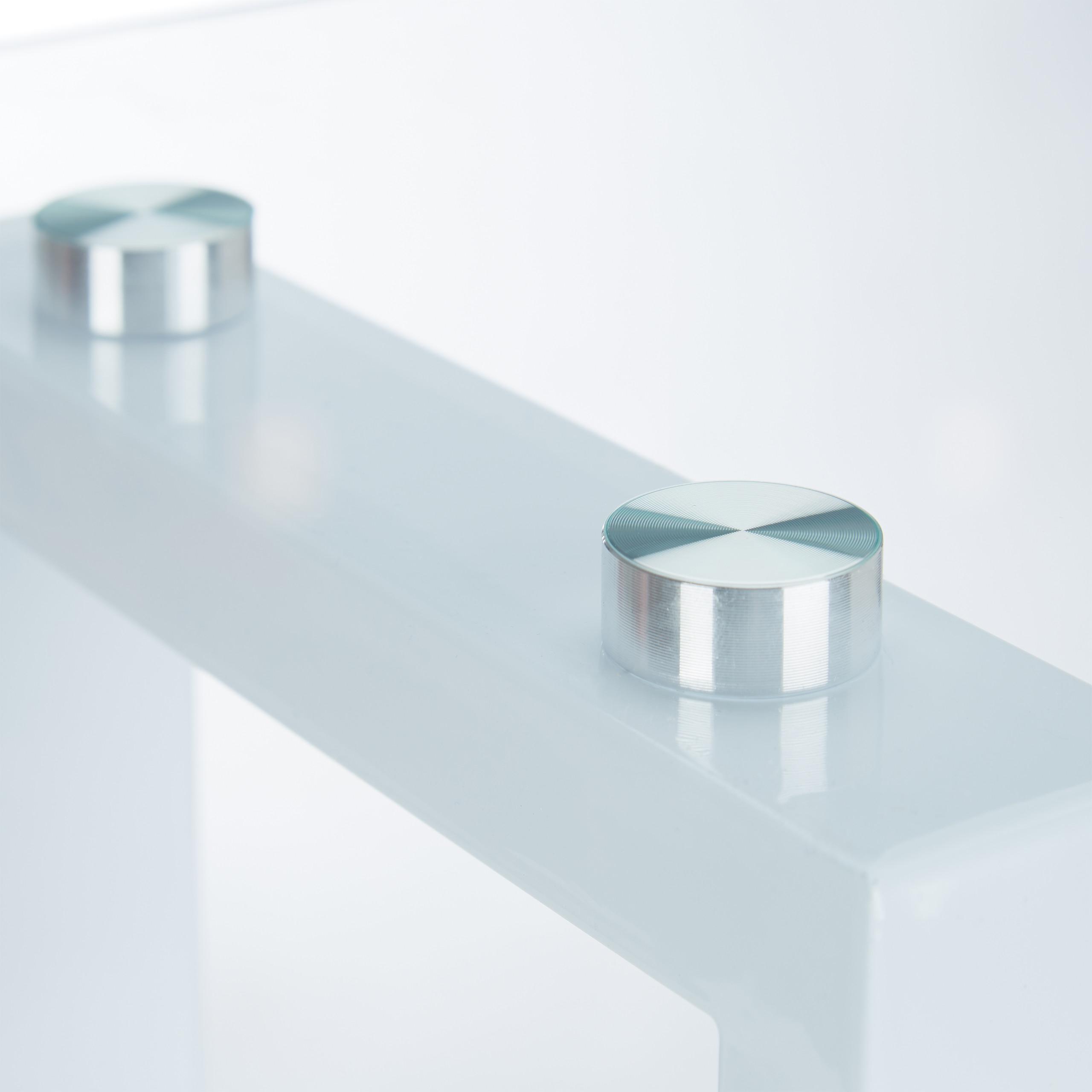 Details Zu Beistelltisch Glas Wohnzimmertisch Stahl Couchtisch Abstelltisch Nachttisch Weiss