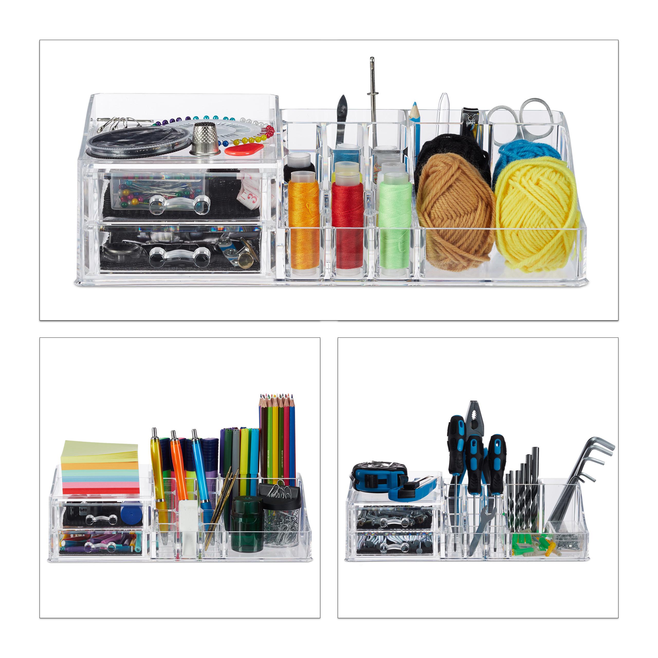 Make-Up-Organizer-Acrylbox-Lippenstifthalter-2-Schubladen-Schmuckaufbewahrung miniatuur 5
