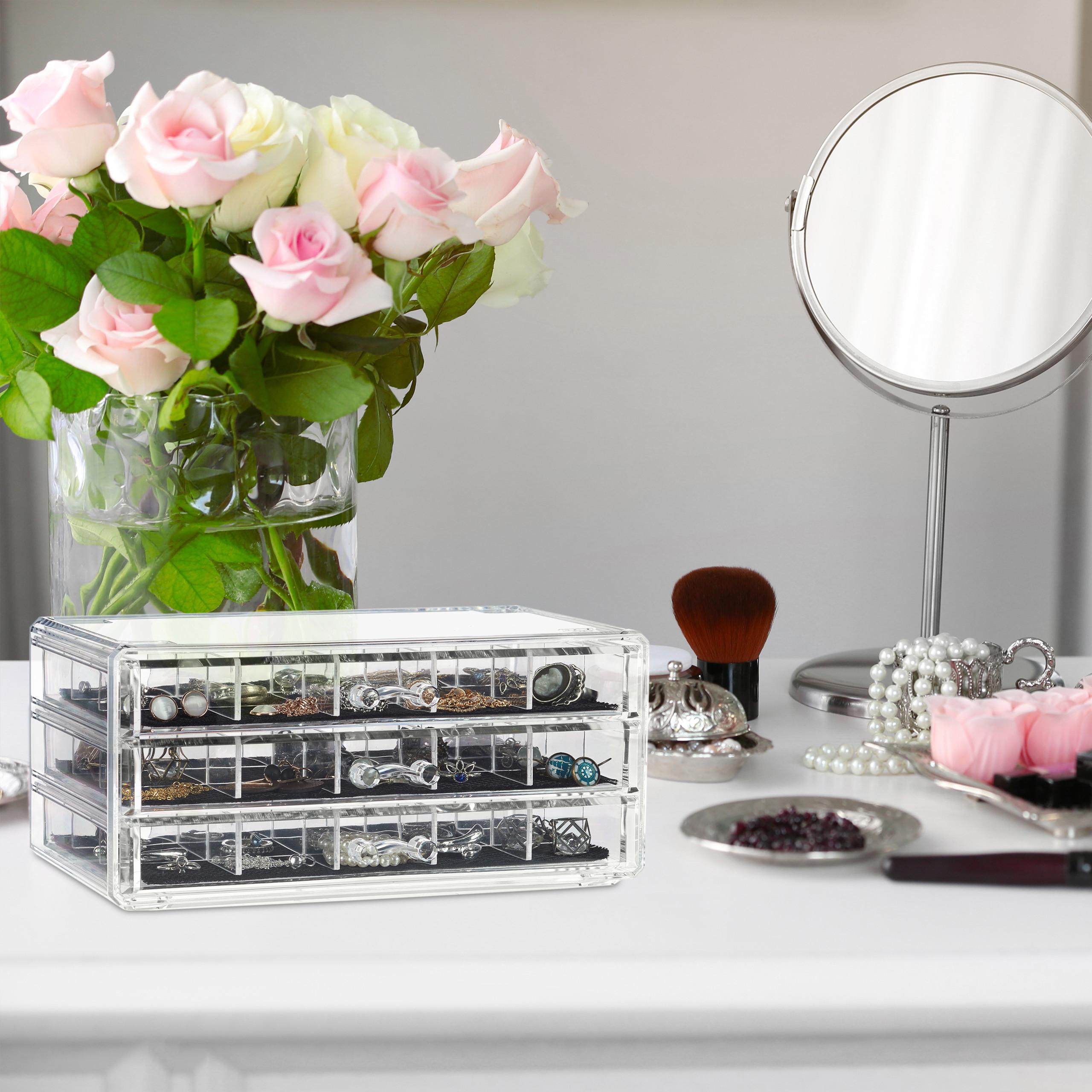 Make-Up-Organizer-Acryl-Schmuckaufbewahrung-3-Schubladen-Kosmetikbox-mit-Fachern miniatuur 3