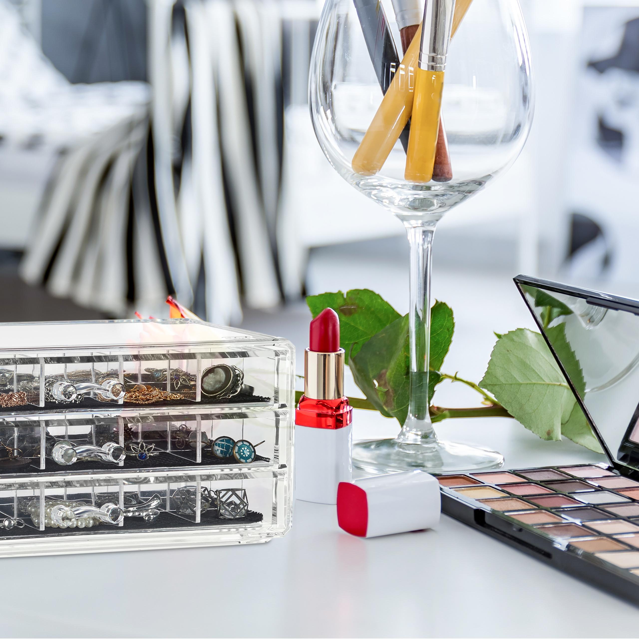 Make-Up-Organizer-Acryl-Schmuckaufbewahrung-3-Schubladen-Kosmetikbox-mit-Fachern miniatuur 4