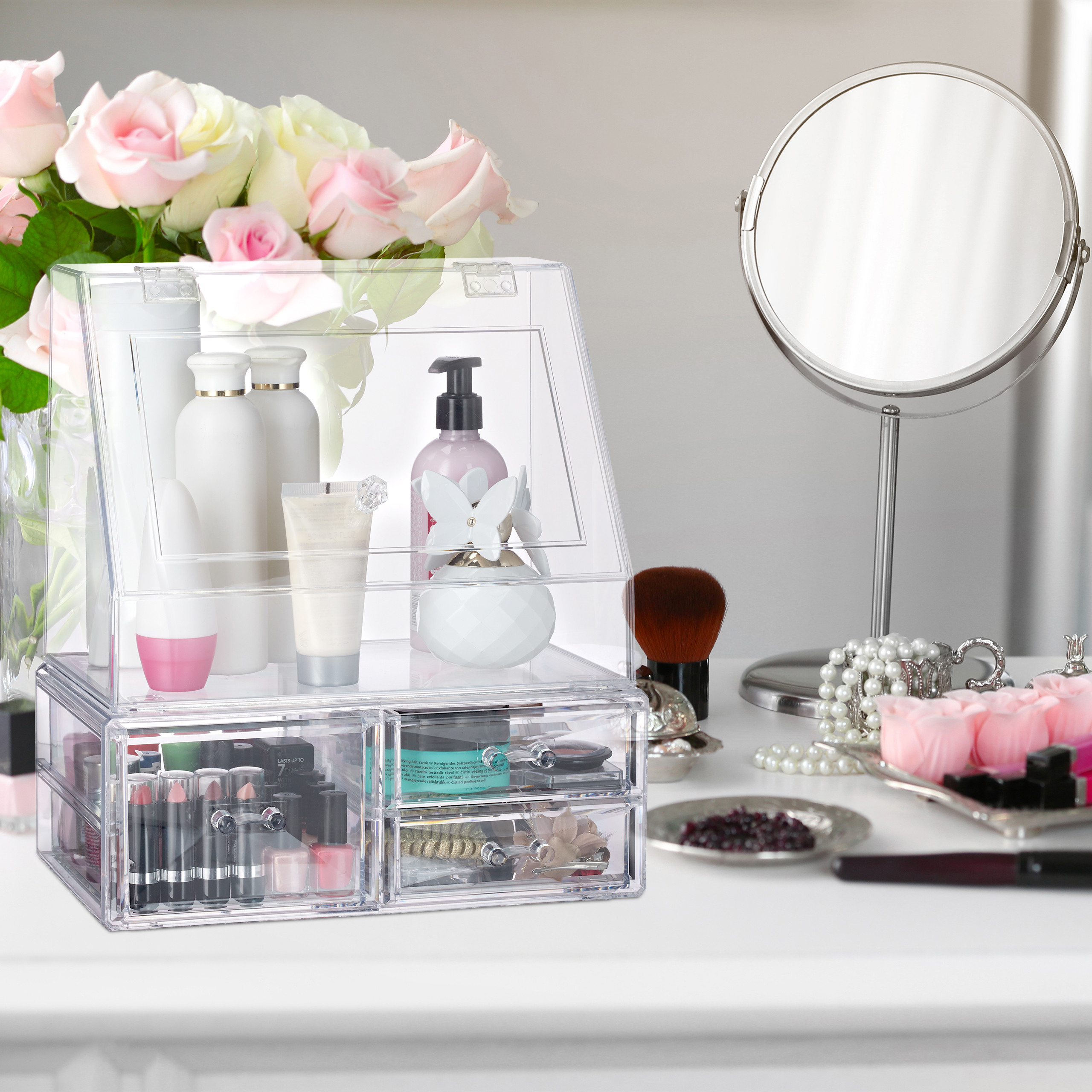 Kosmetik-Organizer-Acrylbox-Schmink-Aufbewahrung-Make-Up-Organizer-3-Schubladen miniatura 4