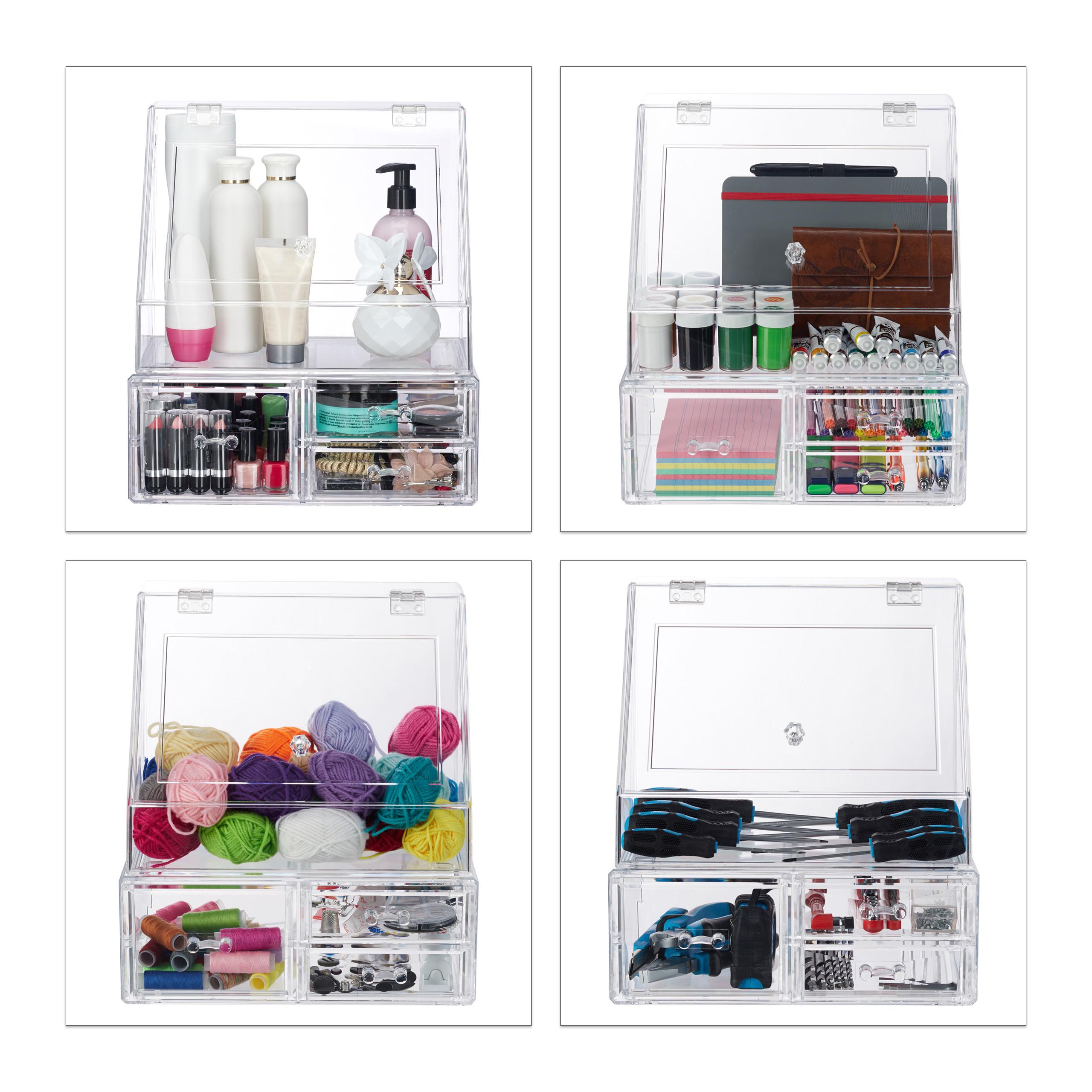 Kosmetik-Organizer-Acrylbox-Schmink-Aufbewahrung-Make-Up-Organizer-3-Schubladen miniatura 5