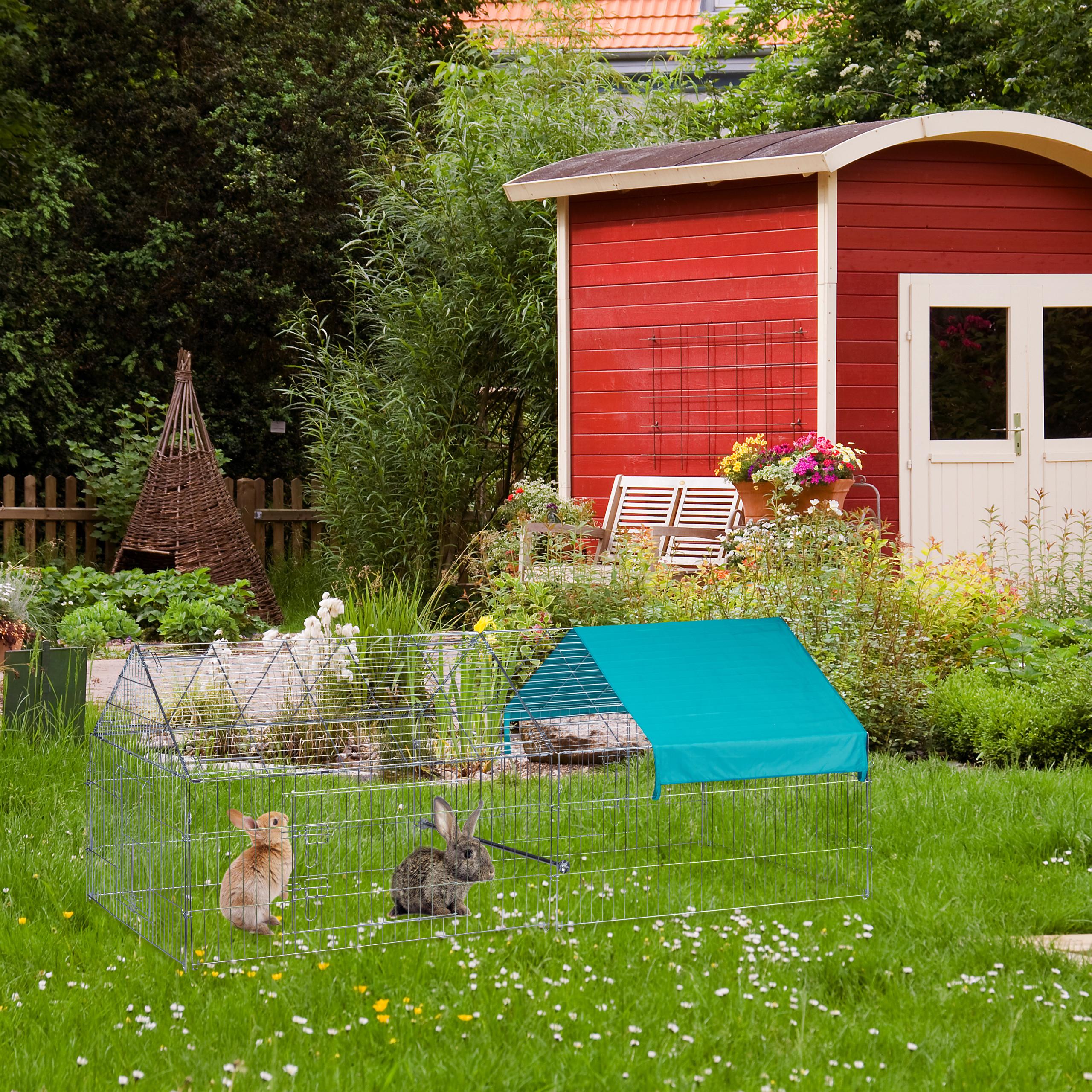 Freilaufgehege-Kaninchen-Huhner-Freigehege-Hasengehege-Huhnerauslauf-220cm-Stahl miniatuur 15