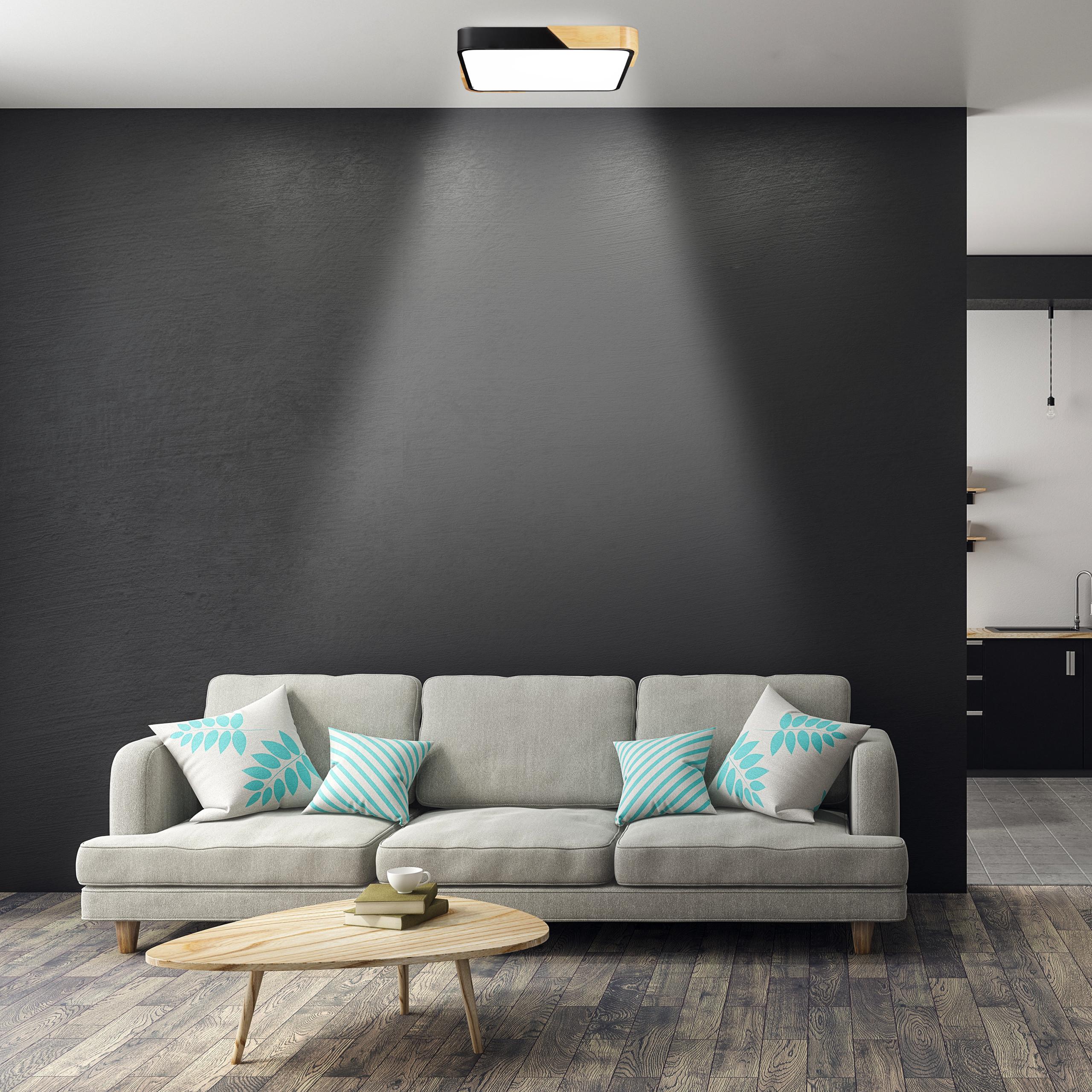 LED Deckenleuchte 24 W LED Lampe Deckenlampe Quadratisch Flurlampe Holz Metall