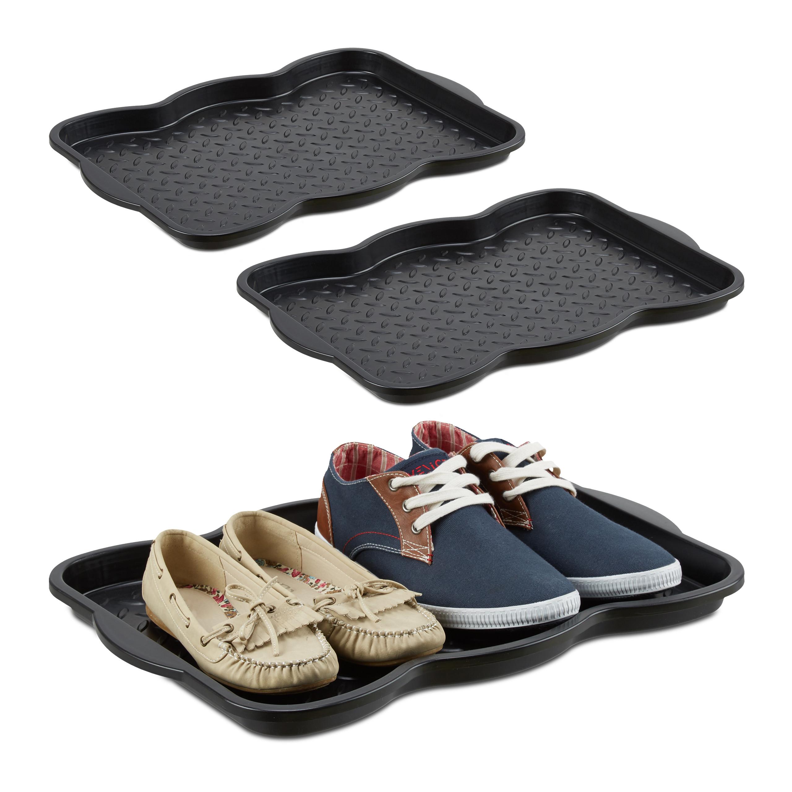 3x Schuhabtropfschale klein, schwarze Schuhablage