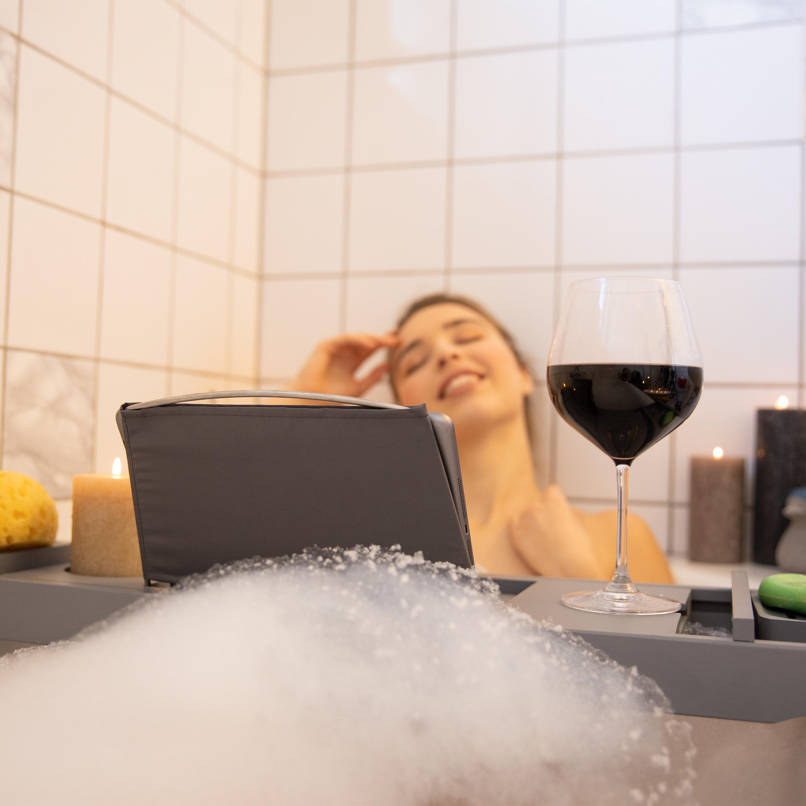 Badewannenablage grau Badewannenaufsatz Buchstütze Bad Caddy Badewannenbrett