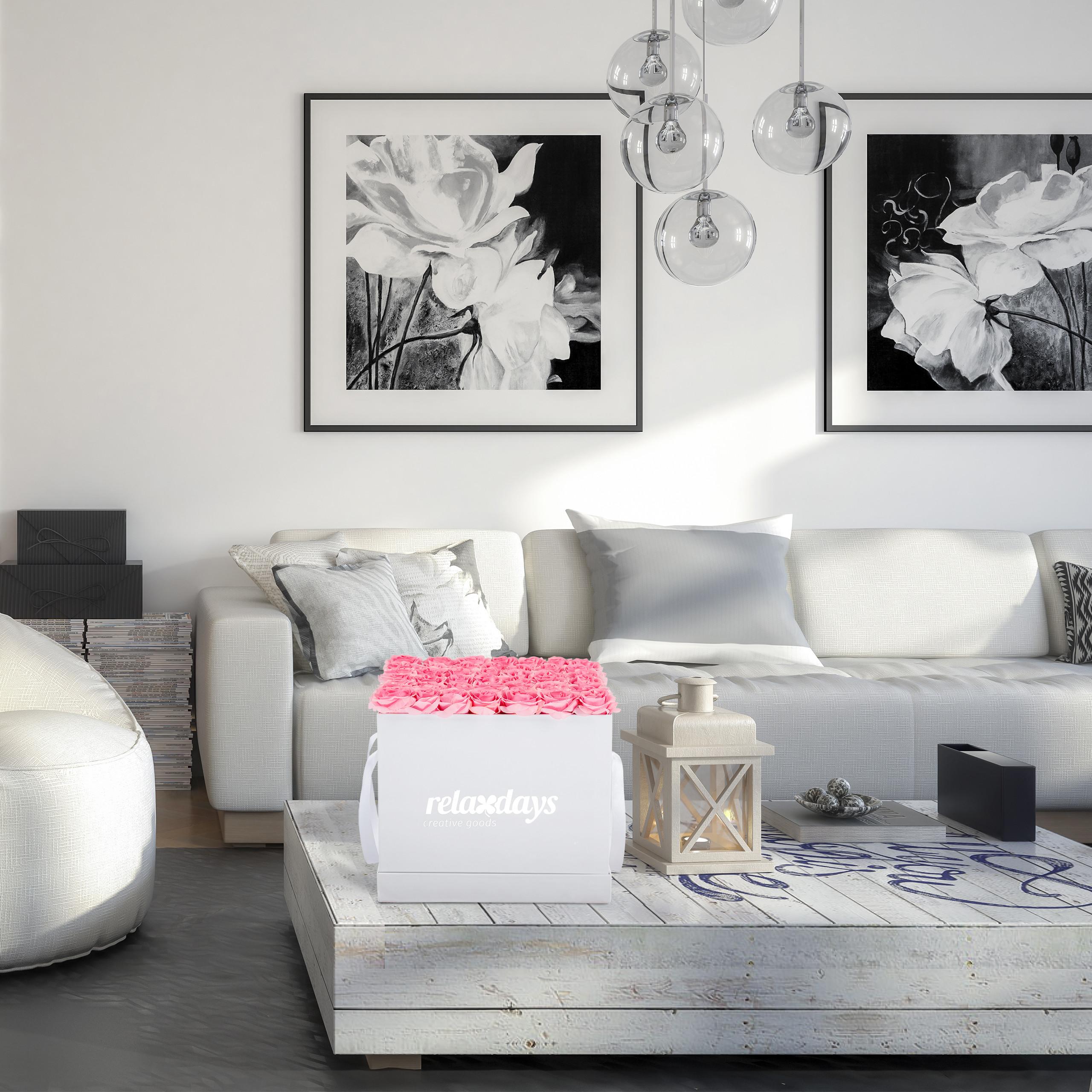 Rosenbox-Flowerbox-Ewige-Rosen-Blumenbox-49-Kunstblumen-eckig-Deko-Valentinstag Indexbild 4