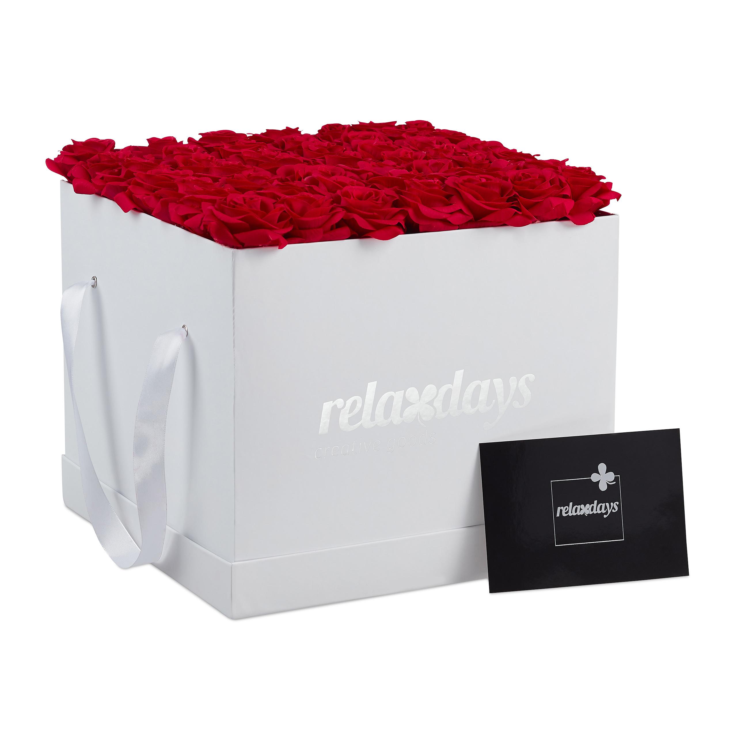 Rosenbox-Flowerbox-Ewige-Rosen-Blumenbox-49-Kunstblumen-eckig-Deko-Valentinstag Indexbild 13