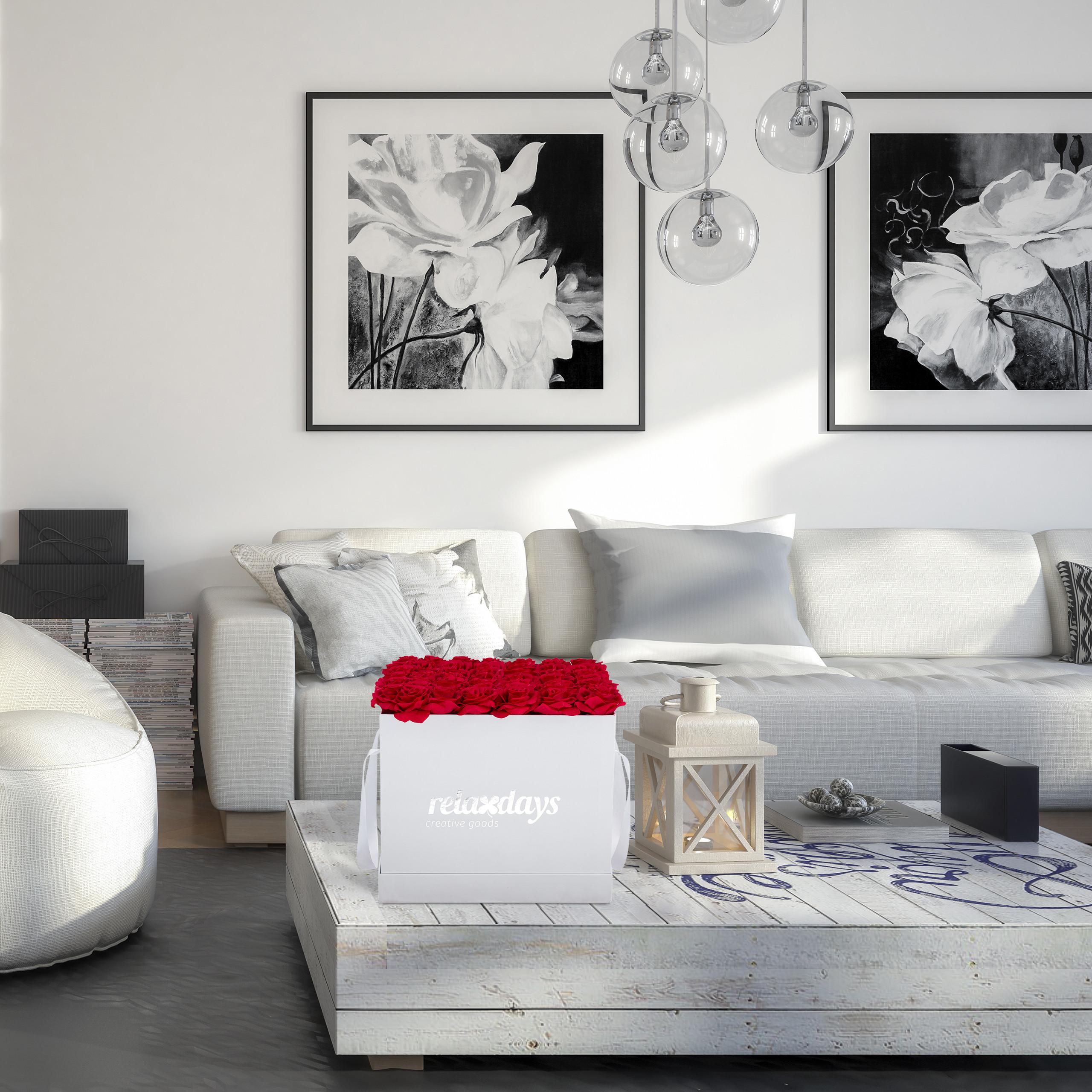 Rosenbox-Flowerbox-Ewige-Rosen-Blumenbox-49-Kunstblumen-eckig-Deko-Valentinstag Indexbild 12