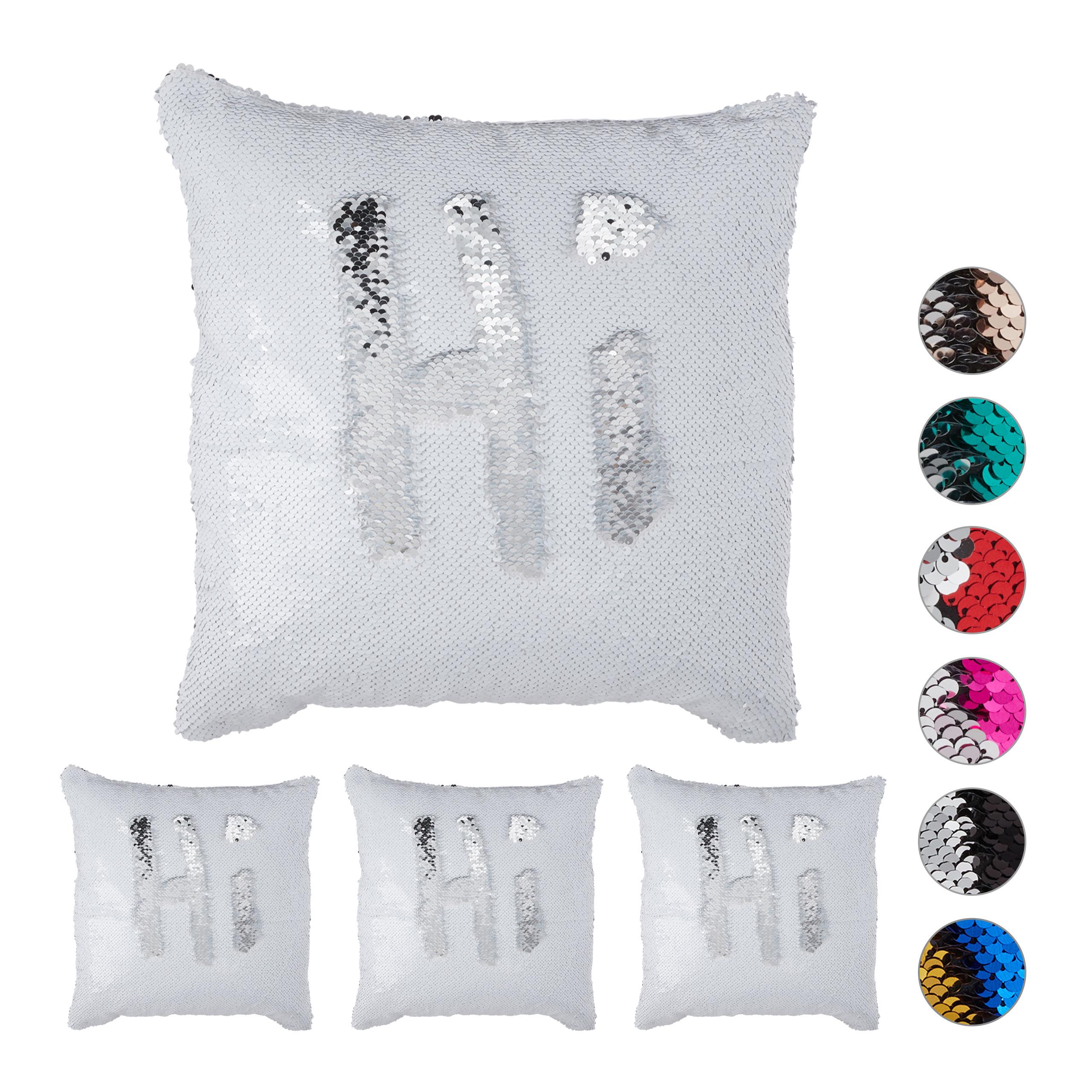 4 X Pailletten Kissenbezug Weiß Silber Dekokissen 40x40