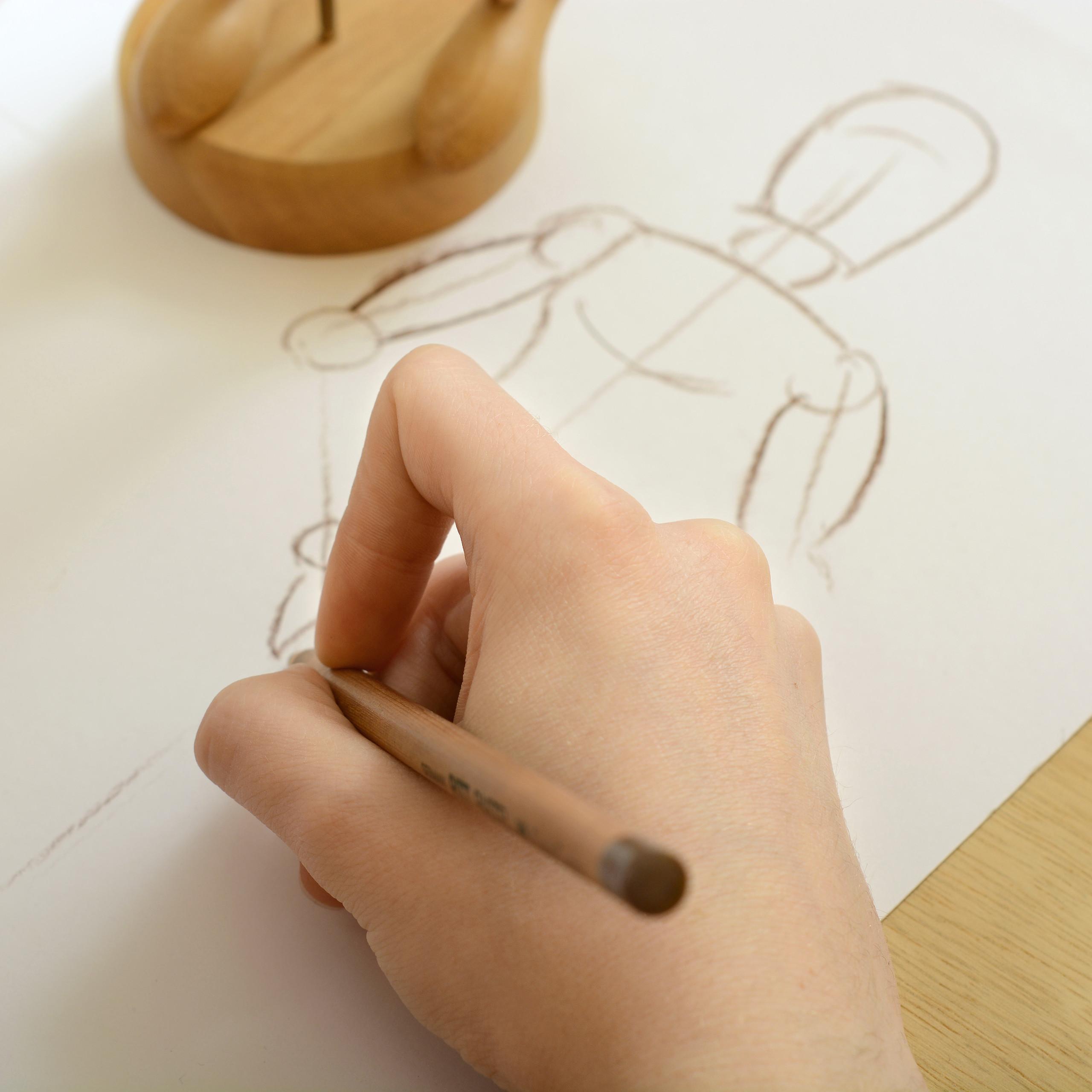Gliederpuppe-Malhilfe-Malfigur-Holzpuppe-Modellpuppe-Zeichenpuppe-Gelenkpuppe Indexbild 10