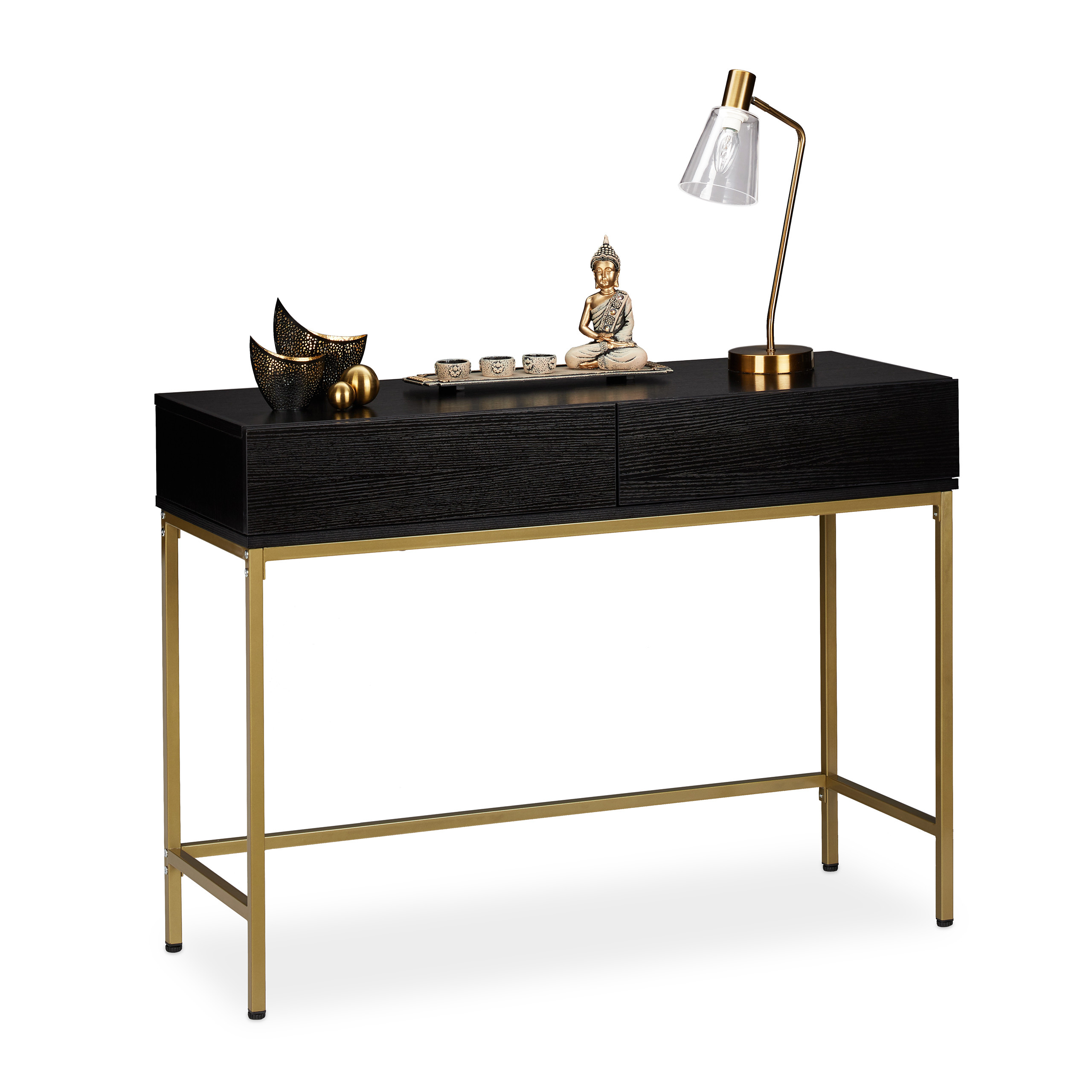 Console Table Black Frame Gold Hallway Table Tray Table
