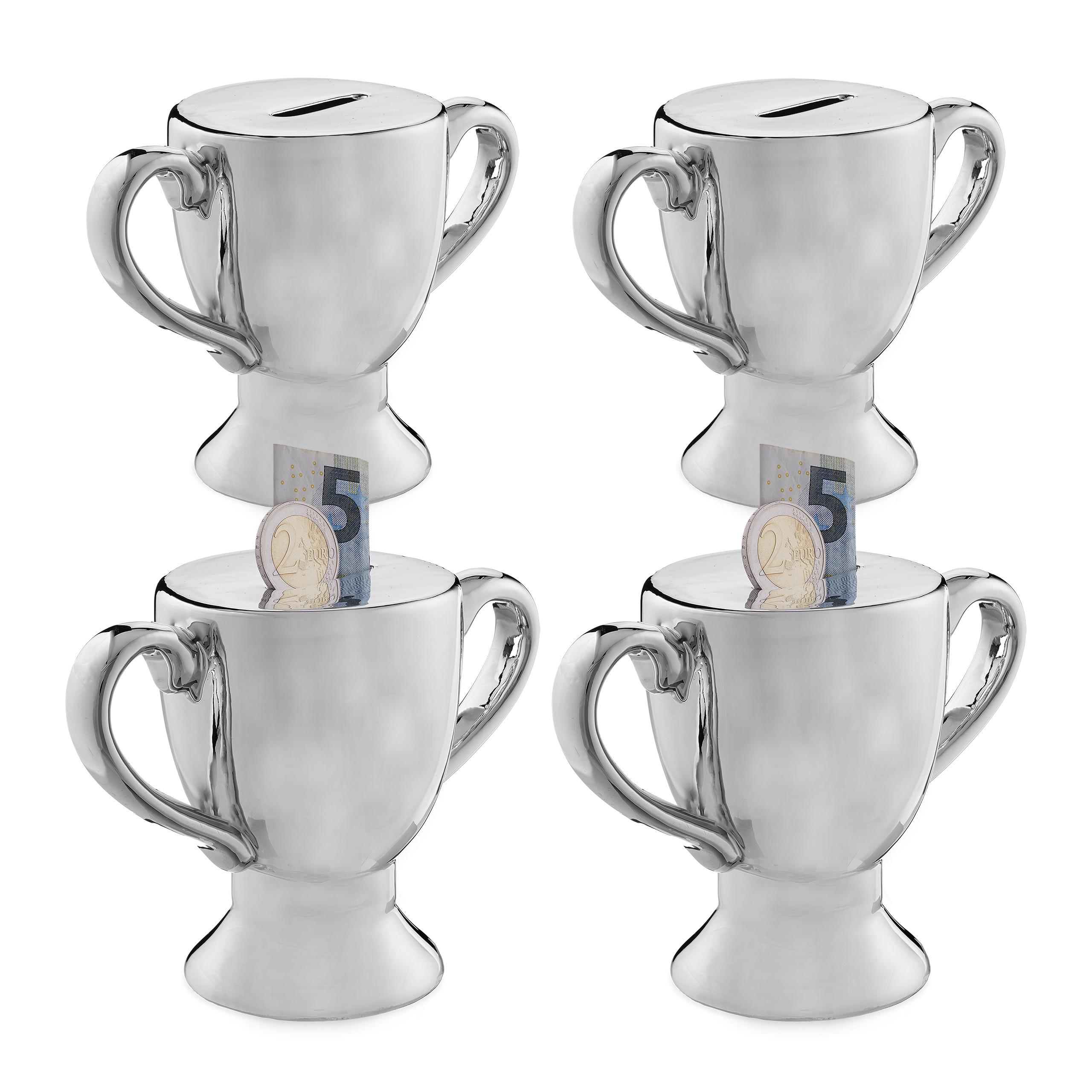 Spardose Pokal Sparschwein Sparbüchse Trophäe Keramik Money Box Gelddose Silber