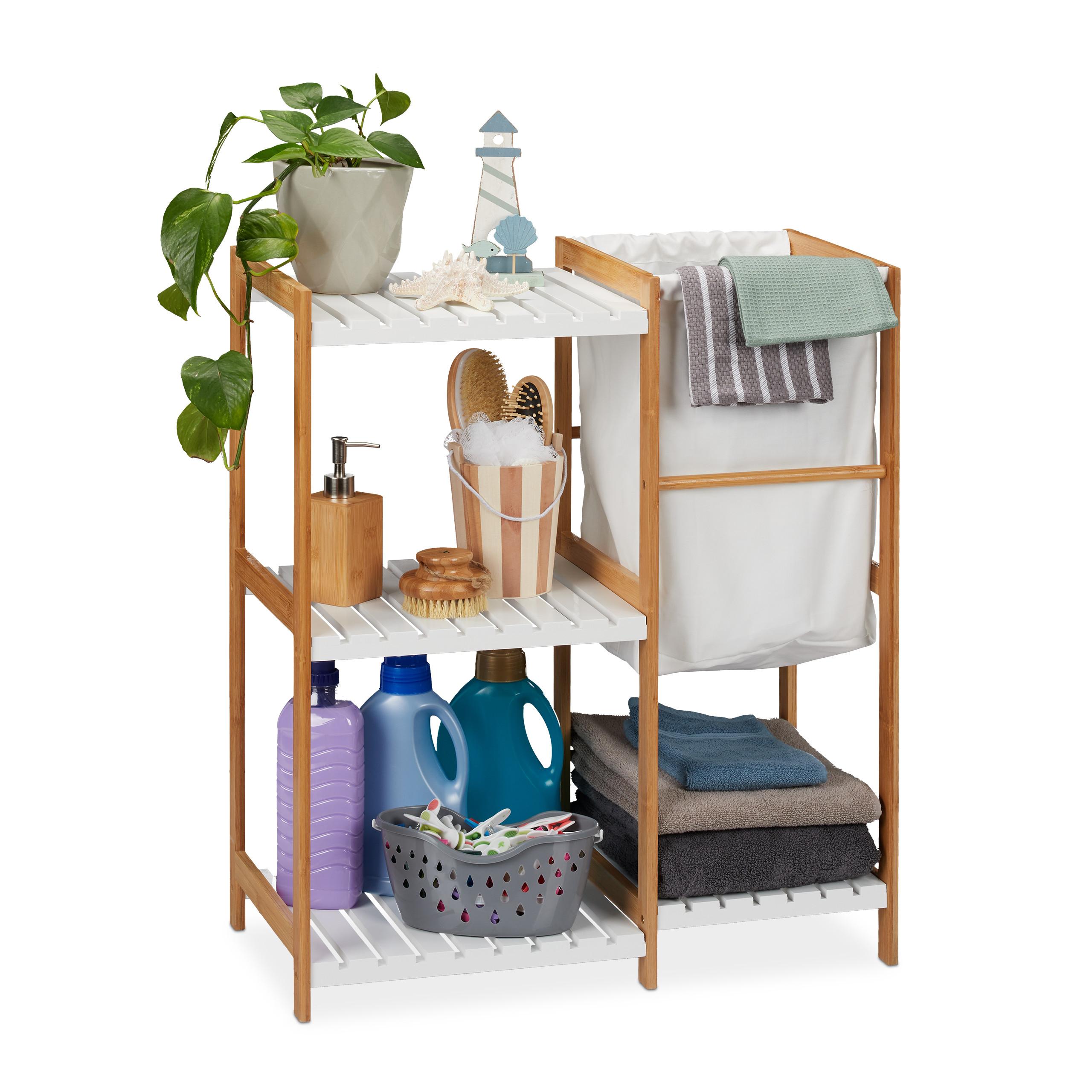 badregal mit wäschekorb regal wäschesammler bambusregal