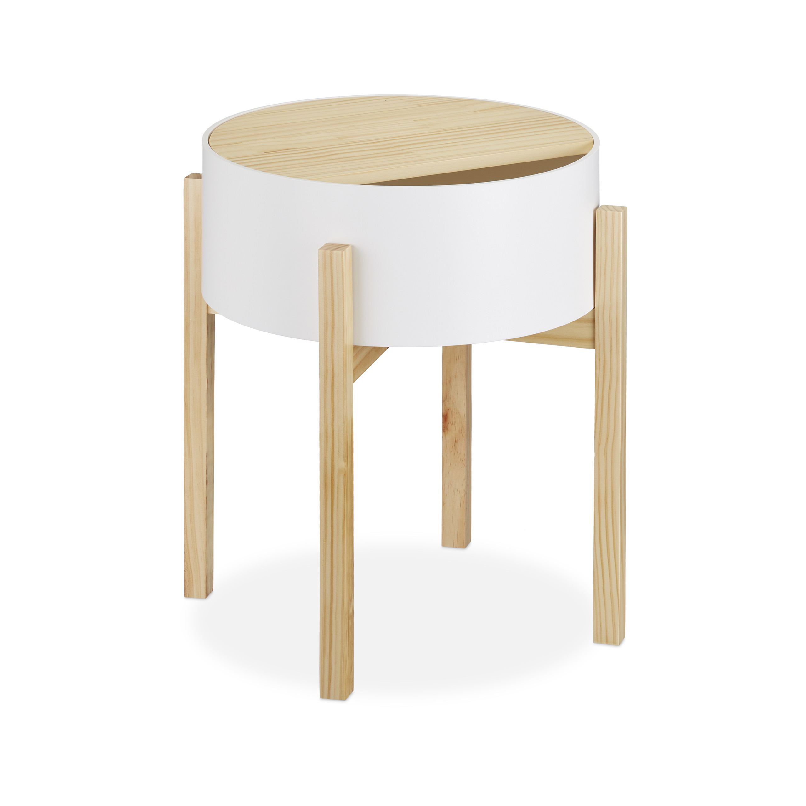 Beistelltisch Nachttisch Tischchen Dekotisch Ablagetisch Beitisch rund Schublade
