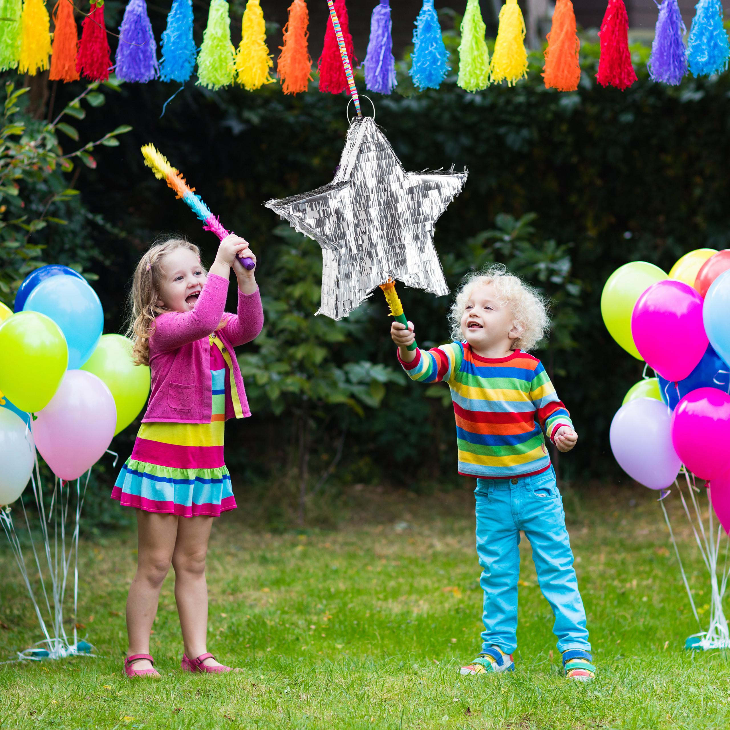 Augenmaske 3 tlg Pinata Set Stern silber Pinatastock Piñata Weihnachten Deko