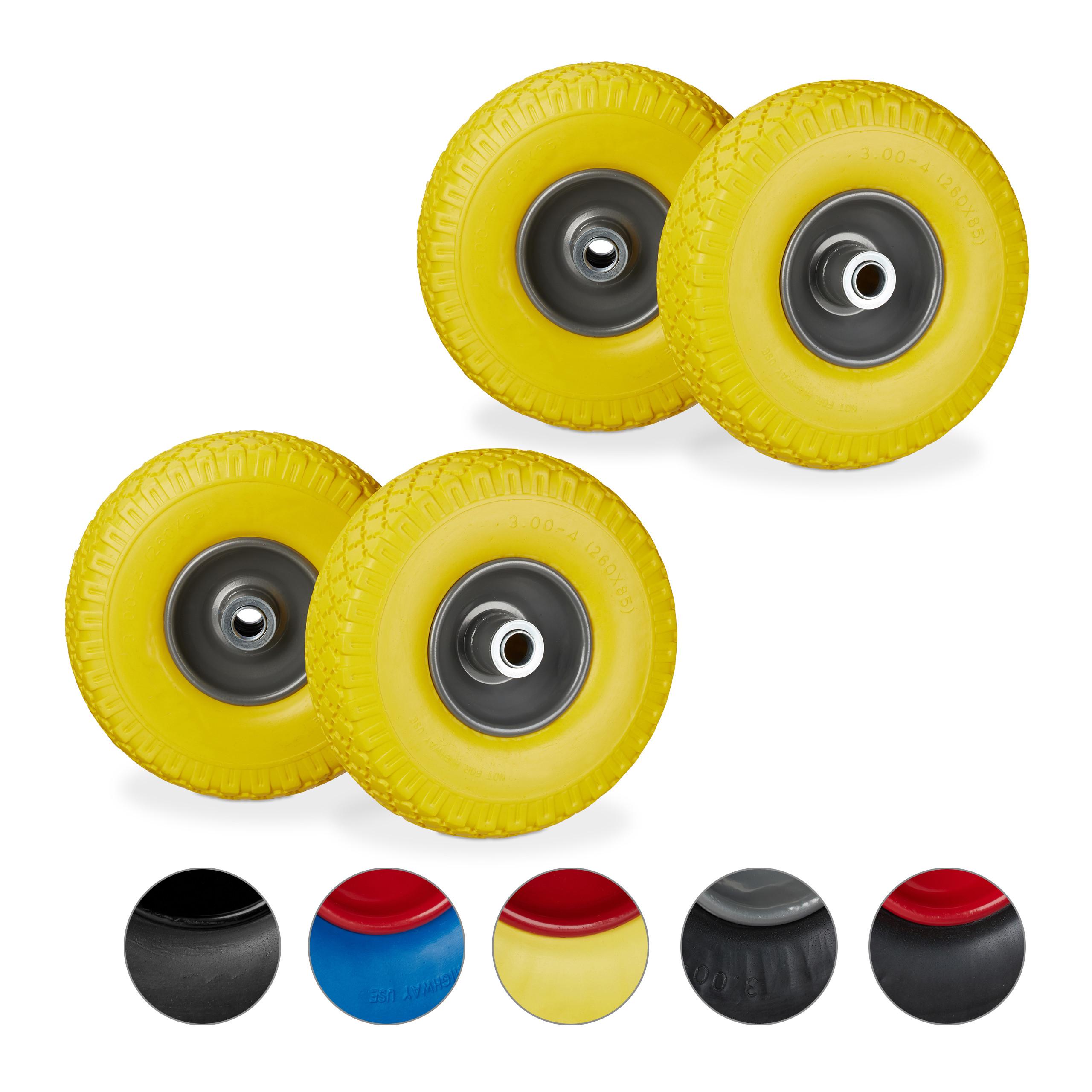 2 x Sackkarrenrad Ersatzrad 260 x 85 mm bis 80 kg 3.00-4 Zoll 20 mm Achse gelb-grau pannensichere Vollgummireifen