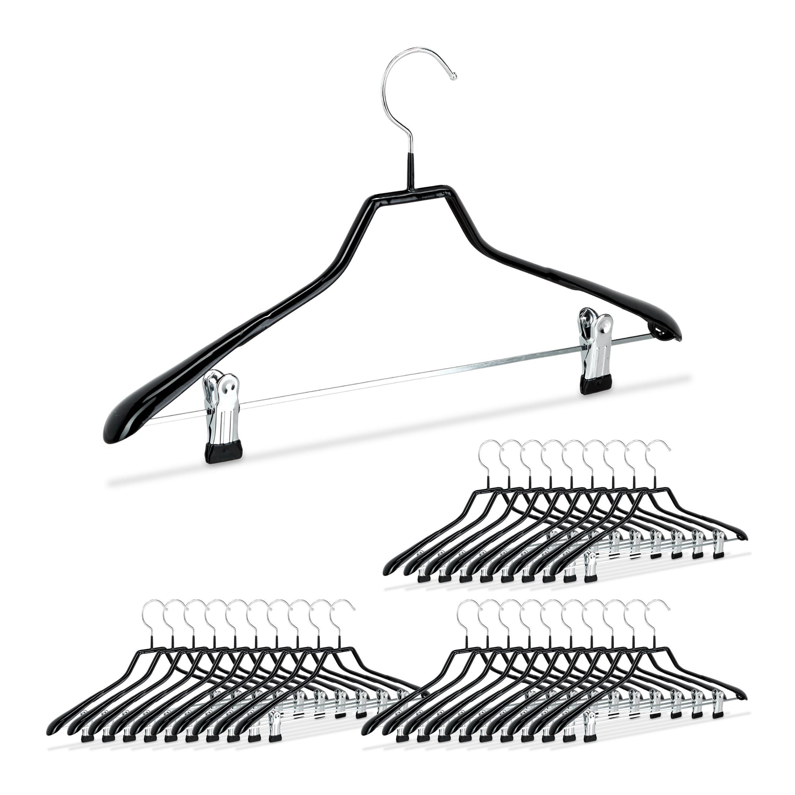 100 x Anzugbügel Metall schwarz Hosenbügel rutschfest gummiert Kleiderbügel