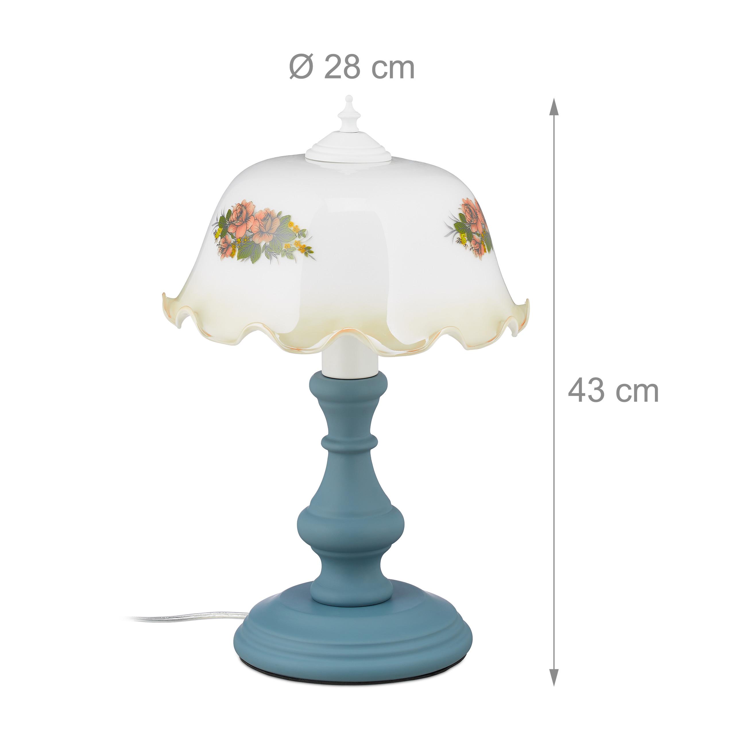 Indexbild 4 - Tischlampe E27 Nachttischlampe Blumen Retro Lampe Schirmlampe Tischleuchte antik