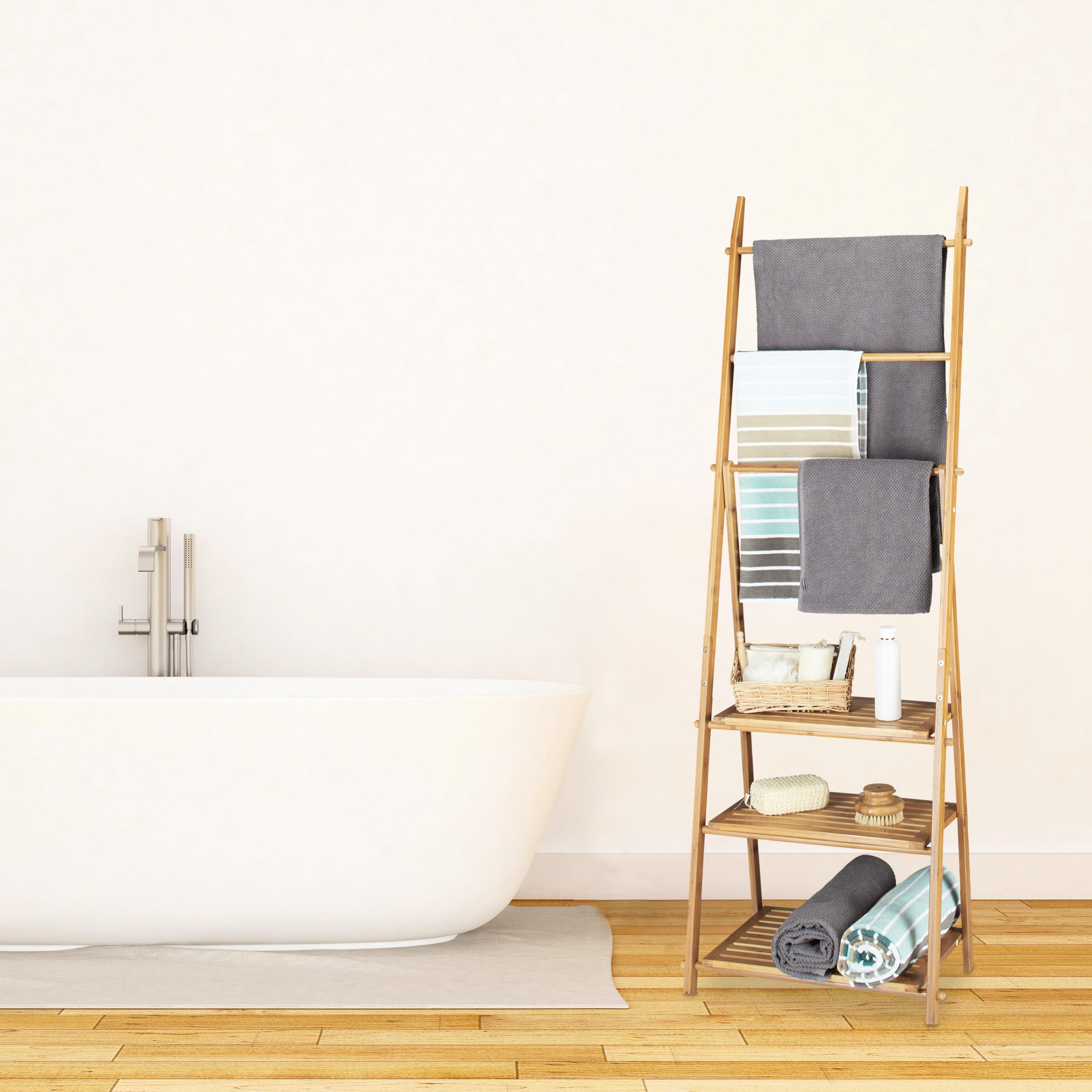 Handtuchhalter Bambus Handtuchständer zum Falten 3