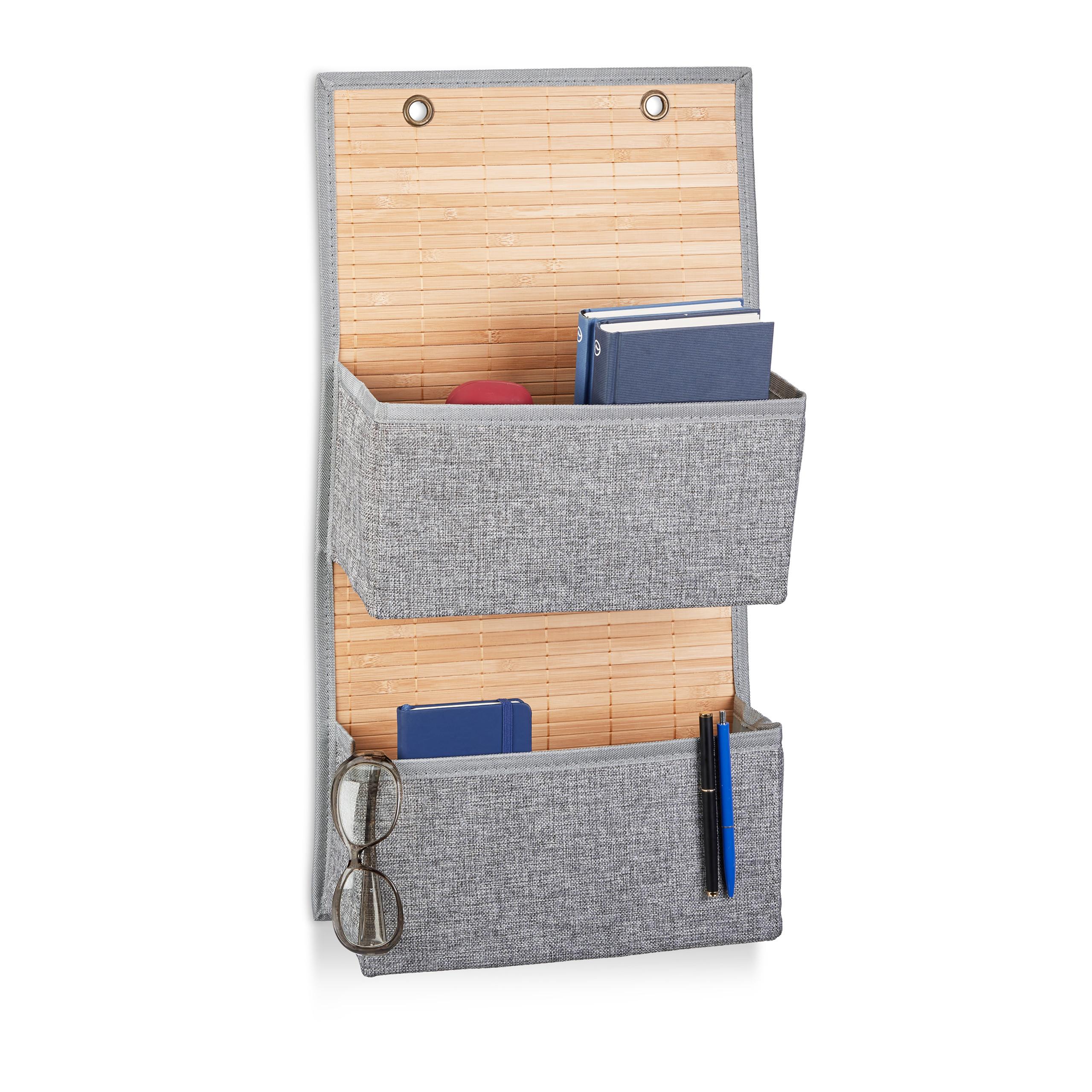 miniatura 2 - Tasca portaoggetti da parete, bagno, cameretta, guardaroba, pieghevole, grigio