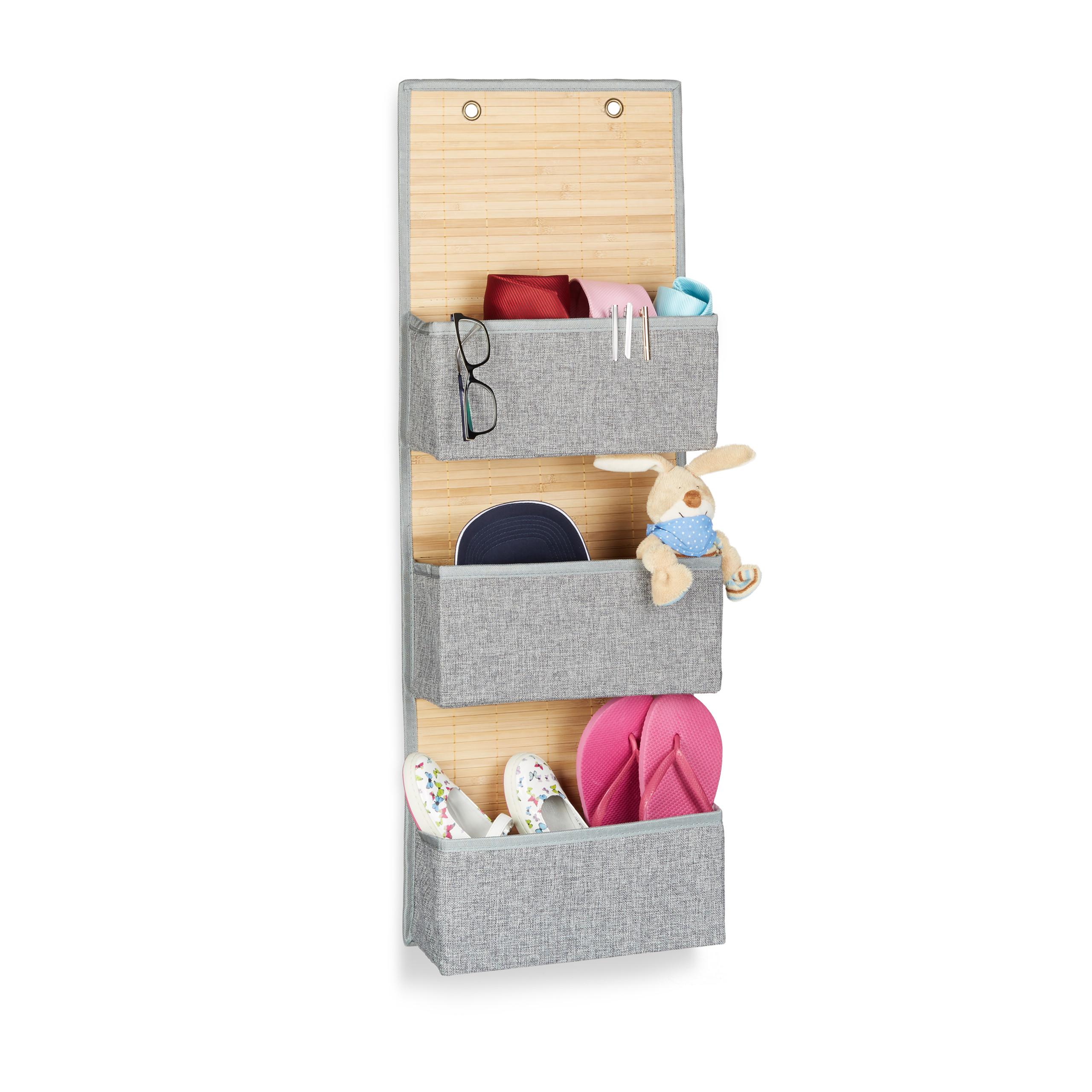 miniatura 10 - Tasca portaoggetti da parete, bagno, cameretta, guardaroba, pieghevole, grigio