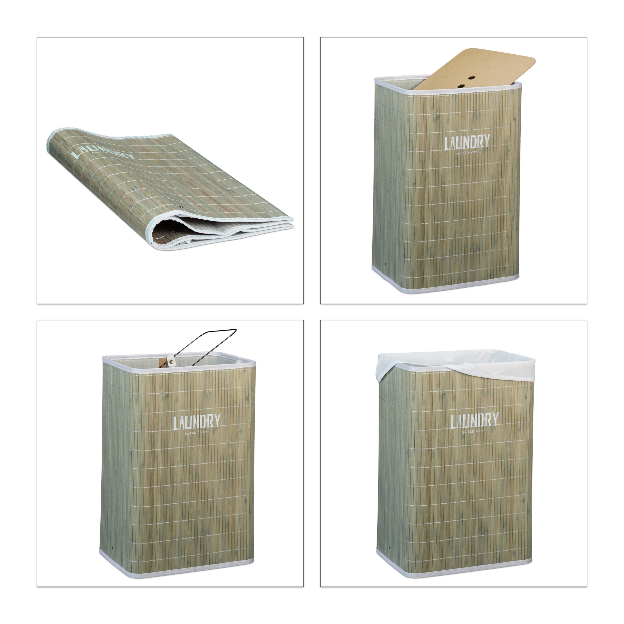 miniatuur 16 - Wasmand bamboe opvouwbaar waszak met deksel was mand